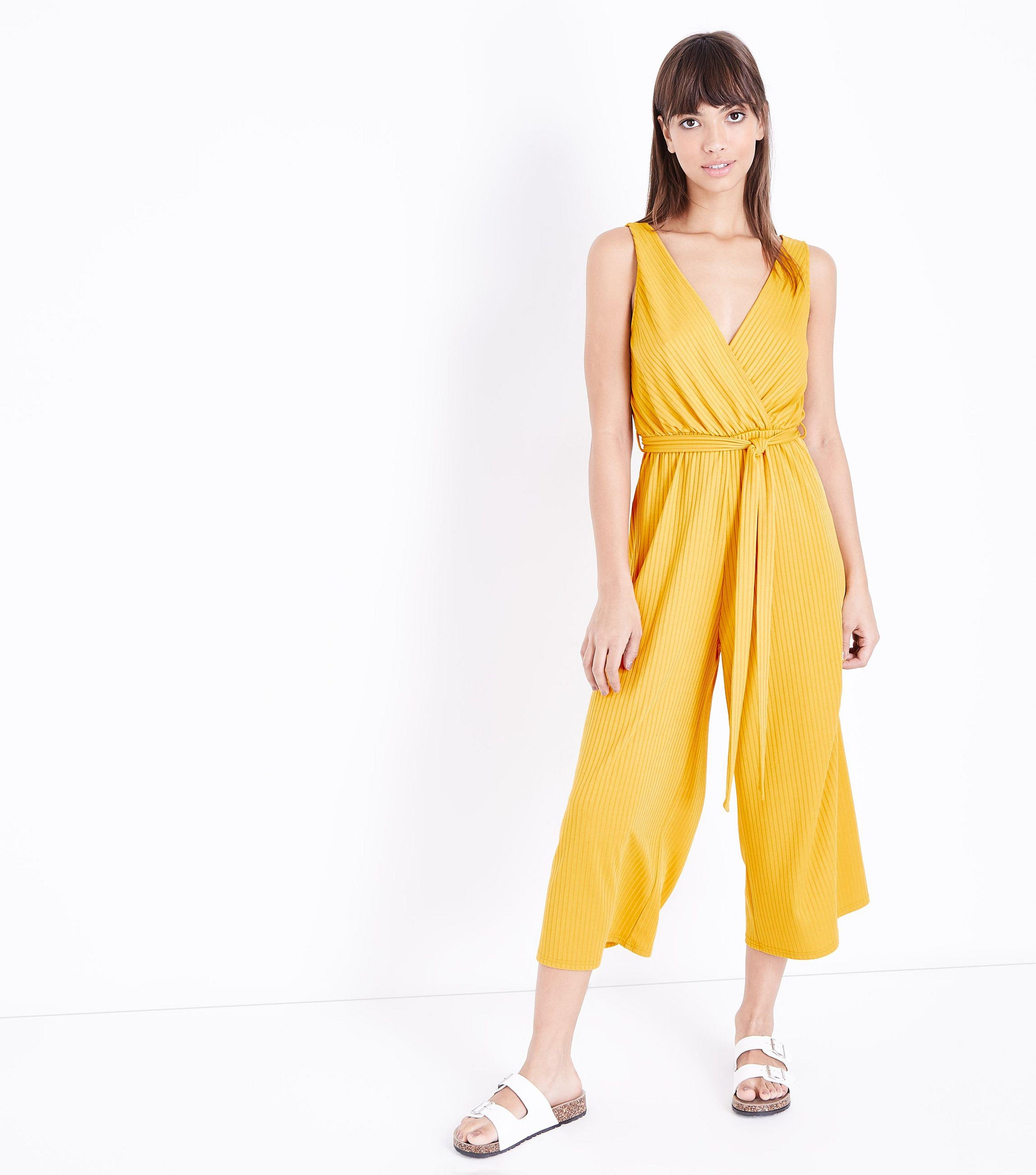 bfaa1cc3678 New Look Mustard Ribbed Sleeveless Jersey Culotte Jumpsuit in Yellow ...