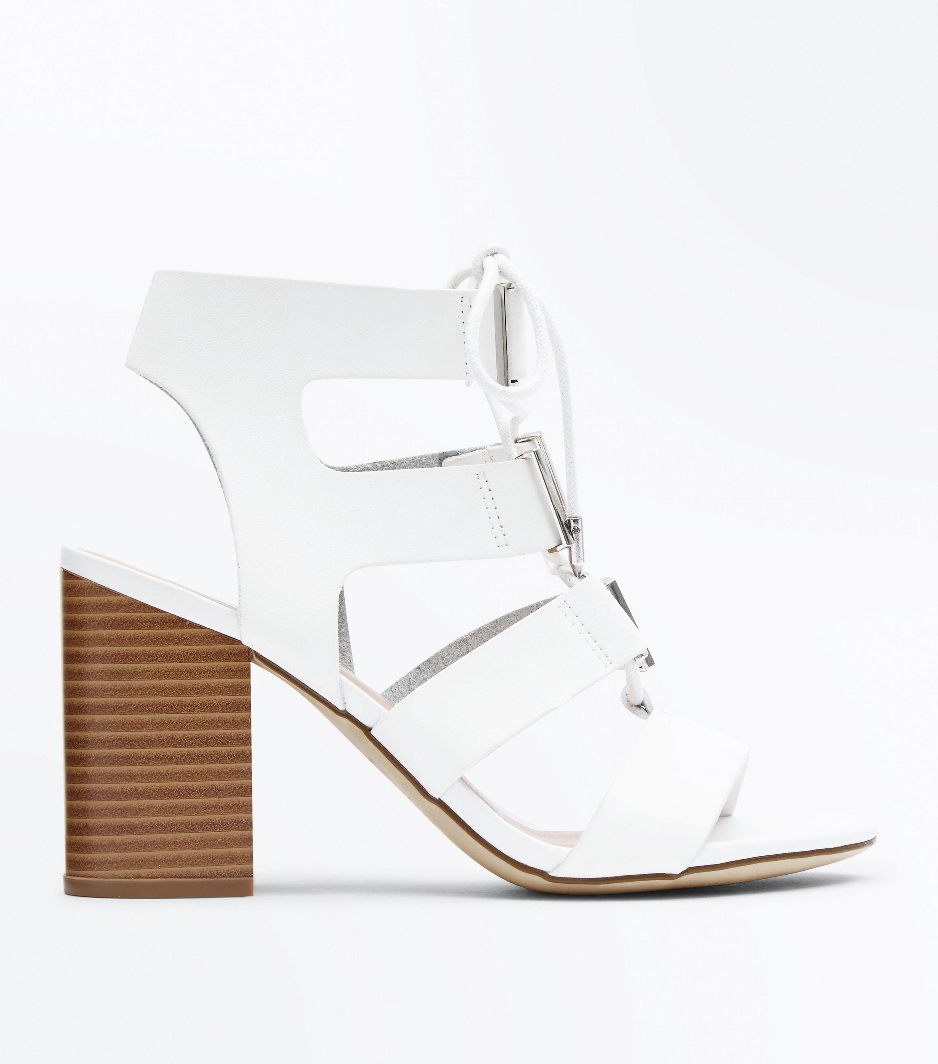 54eccf16a2c New Look White Lace Up Wooden Block Heel Sandals in White - Lyst