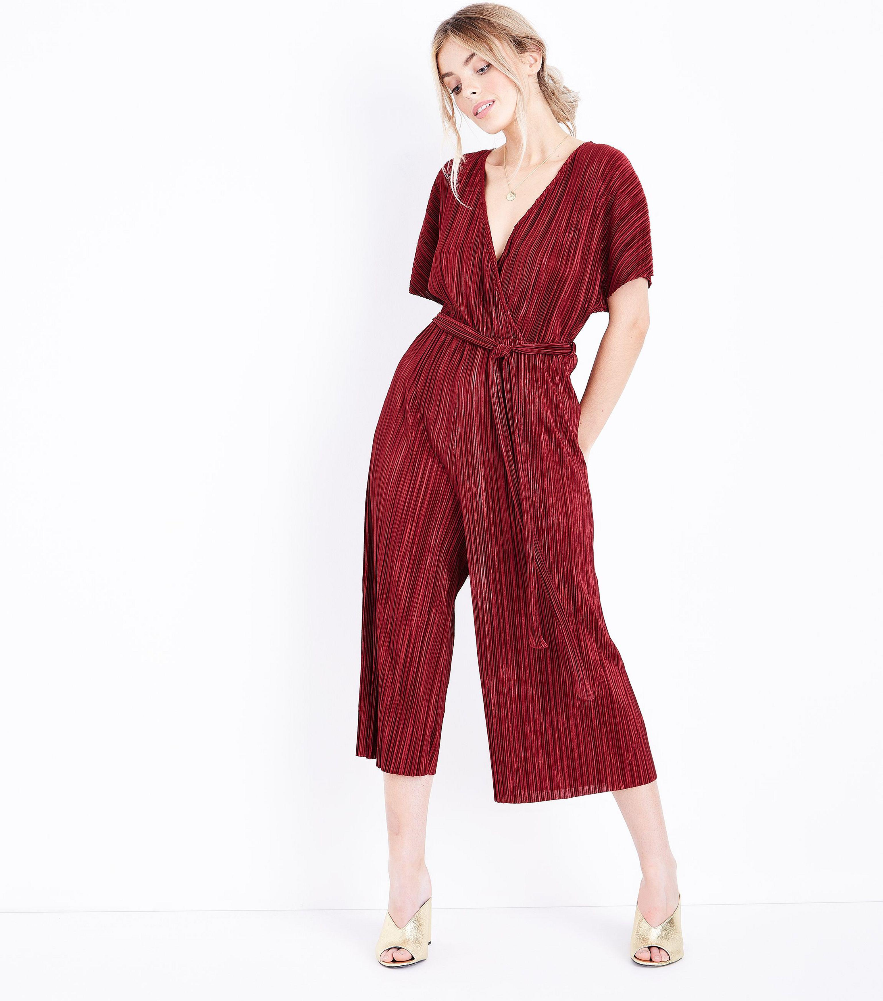 36d1af6b84 New Look Petite Burgundy Plisse Wrap Front Culotte Jumpsuit in Red ...