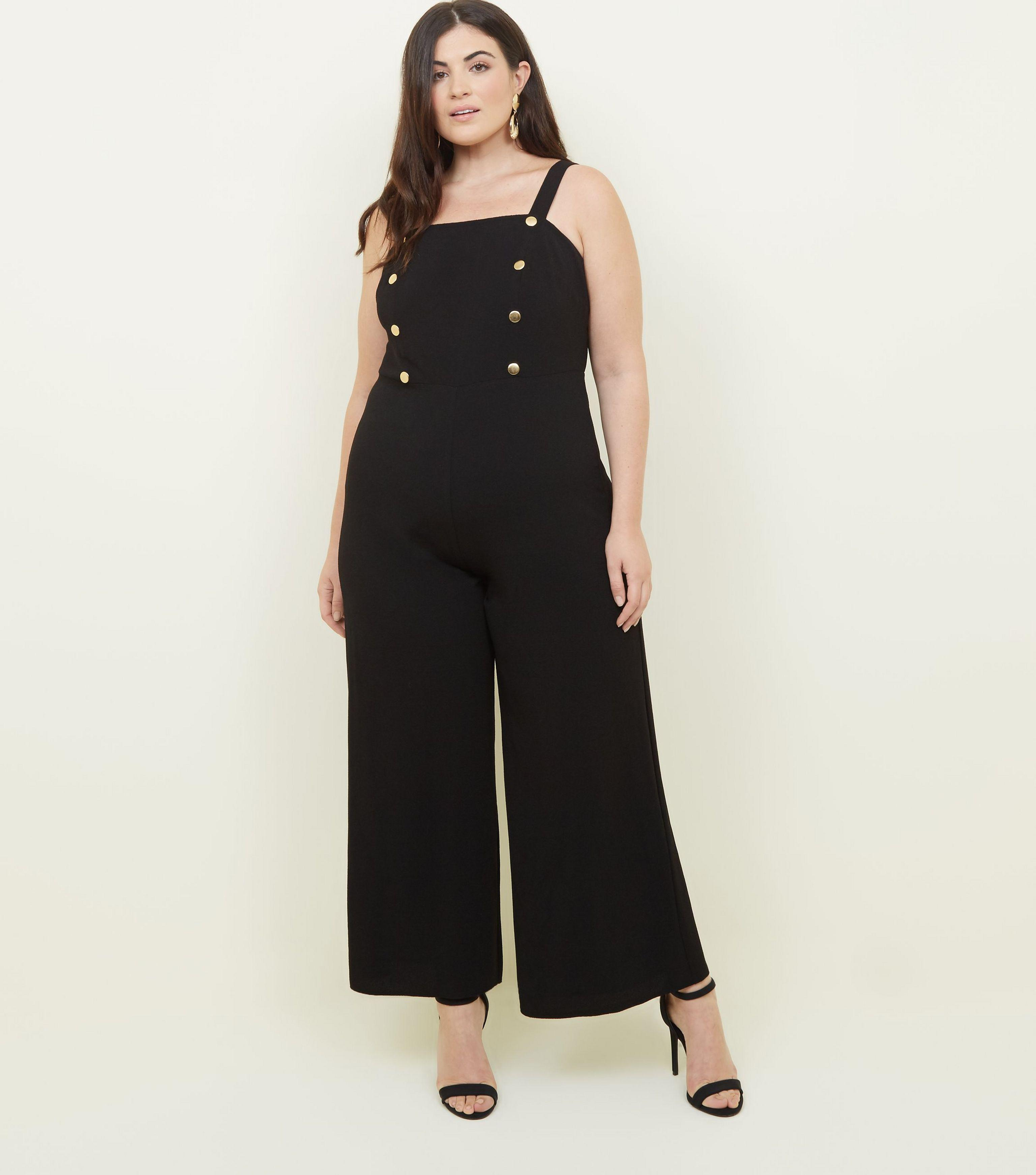 9c21e89fa7 New Look Curves Black Gold Button Front Cropped Jumpsuit in Black - Lyst