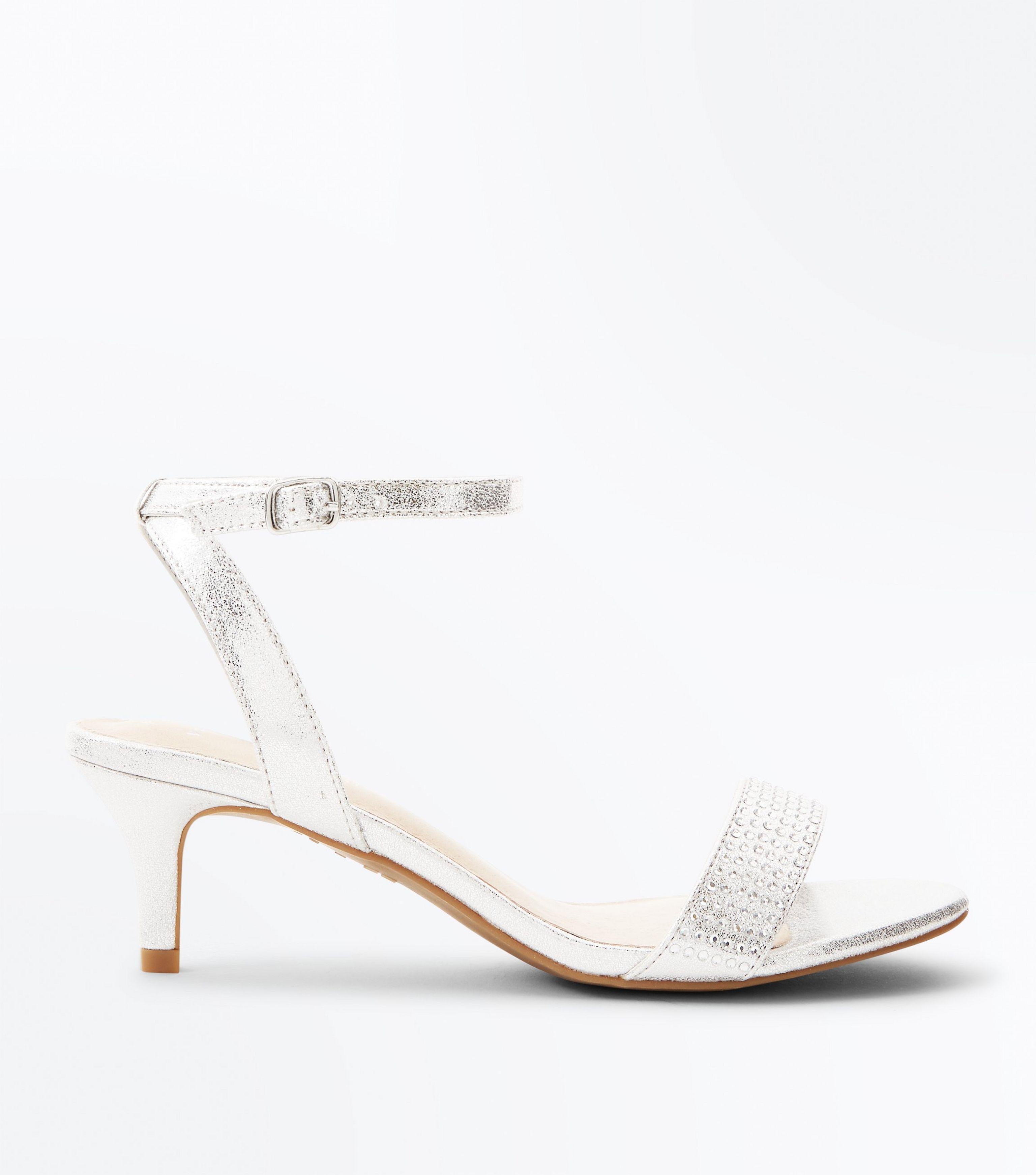 96d501c5103b New Look Wide Fit Silver Comfort Flex Diamanté Strap Kitten Heels in ...