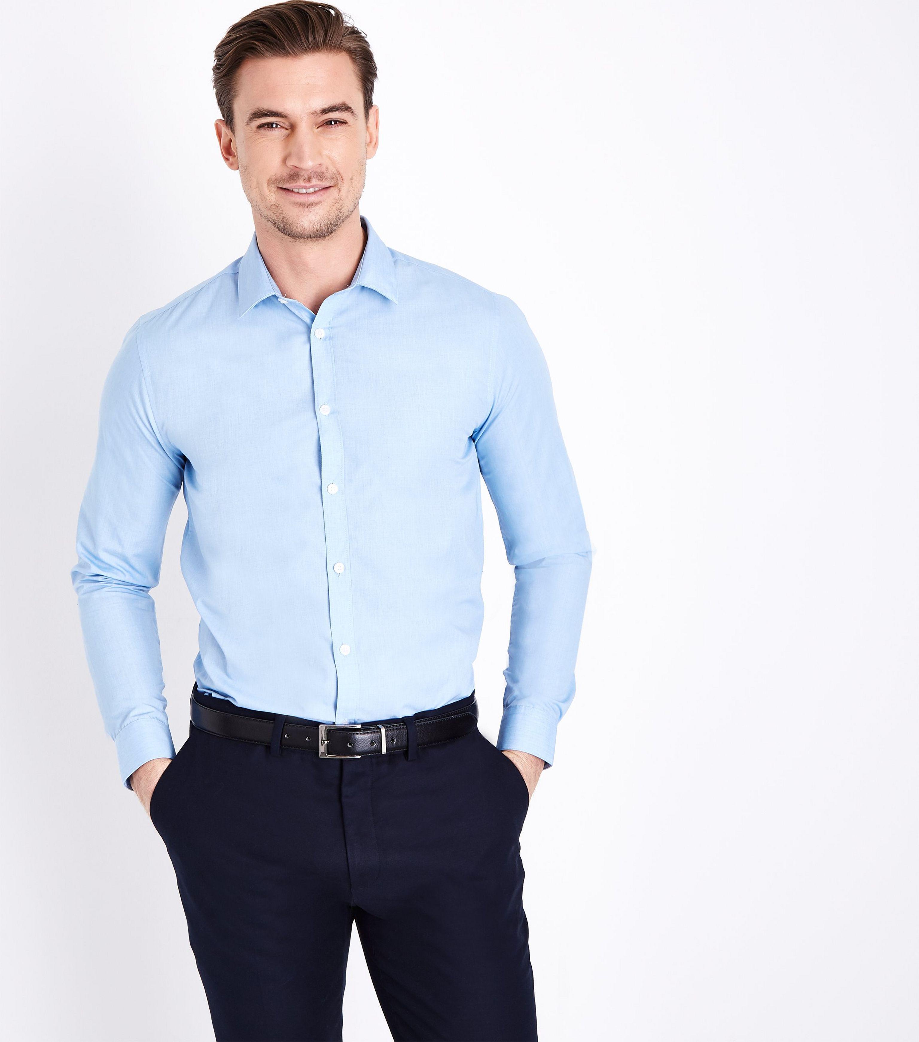 742622da459 New Look Pale Blue Long Sleeve Poplin Shirt in Blue for Men - Lyst