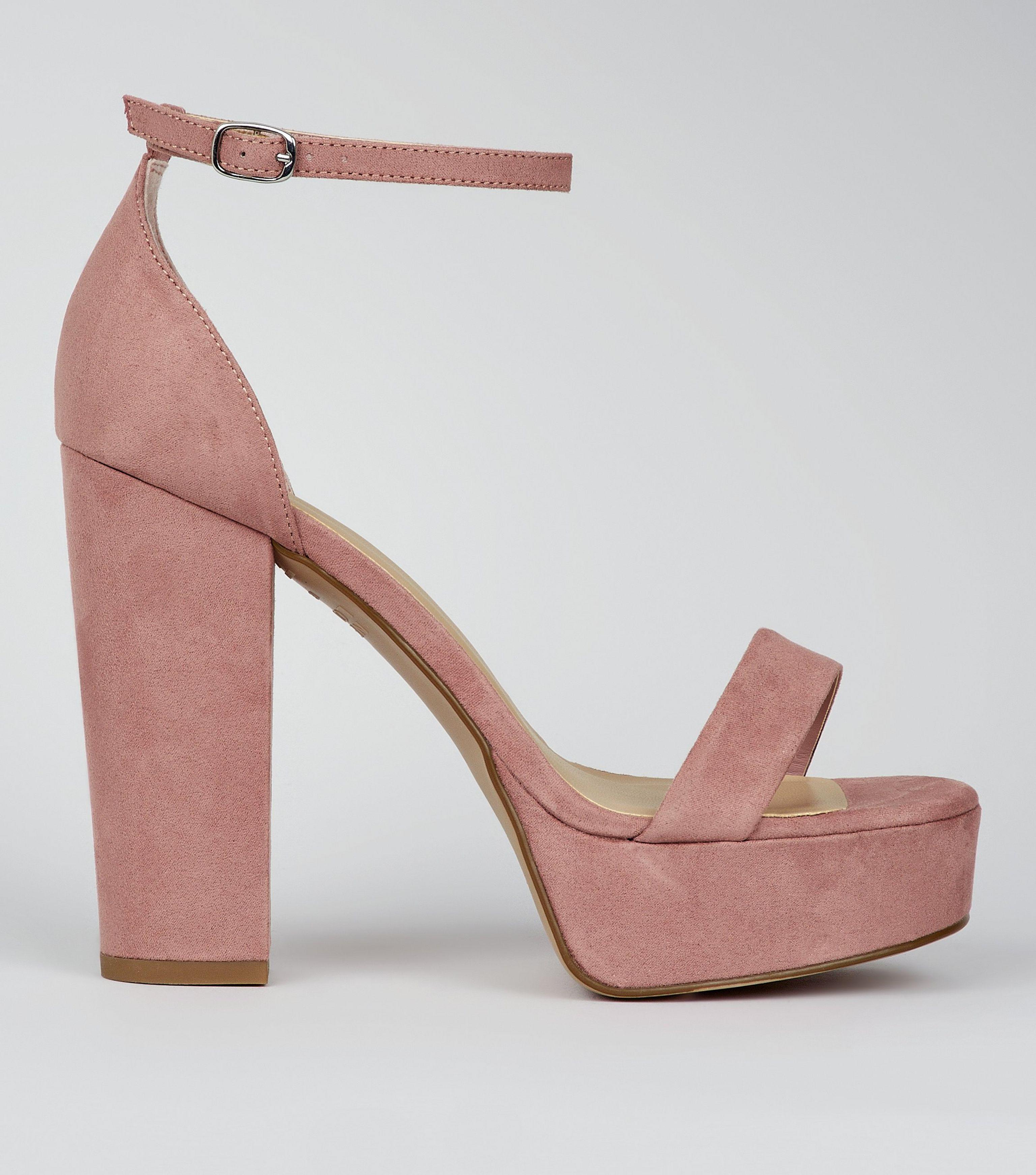 23dcad1c103 New Look Wide Fit Pink Suedette Platform Heels in Pink - Lyst