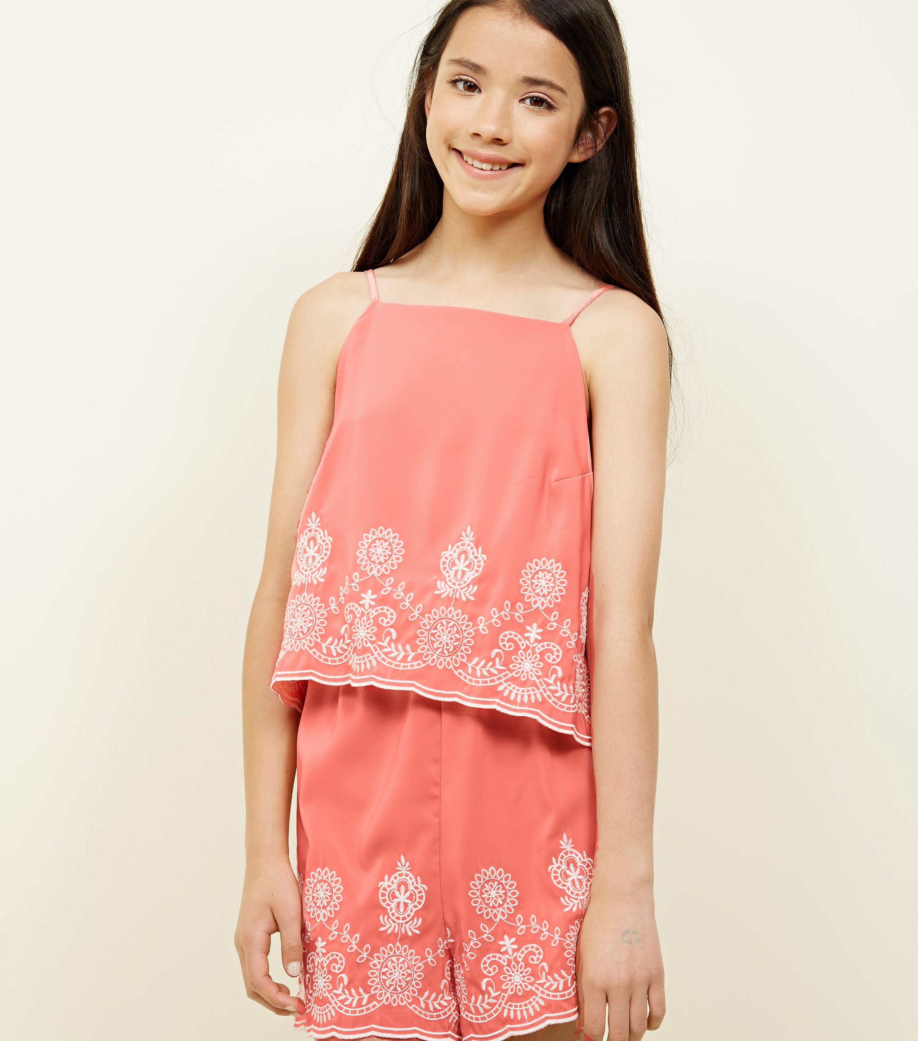 4bac449e64d New Look Girls Coral Floral Embroidered Layered Playsuit in Pink - Lyst
