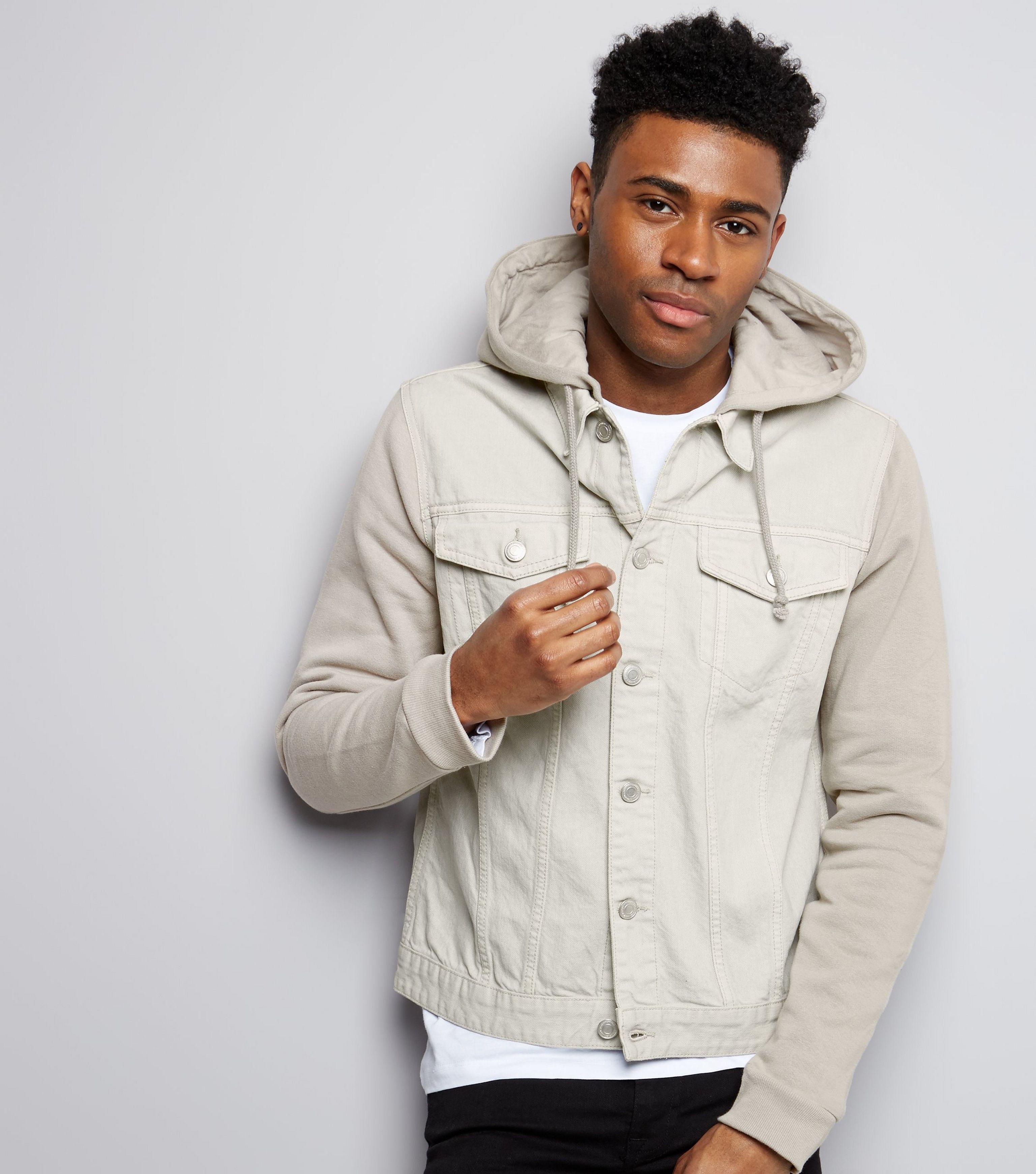 New Look Stone Jersey Sleeve Hooded Denim Jacket For Men Lyst