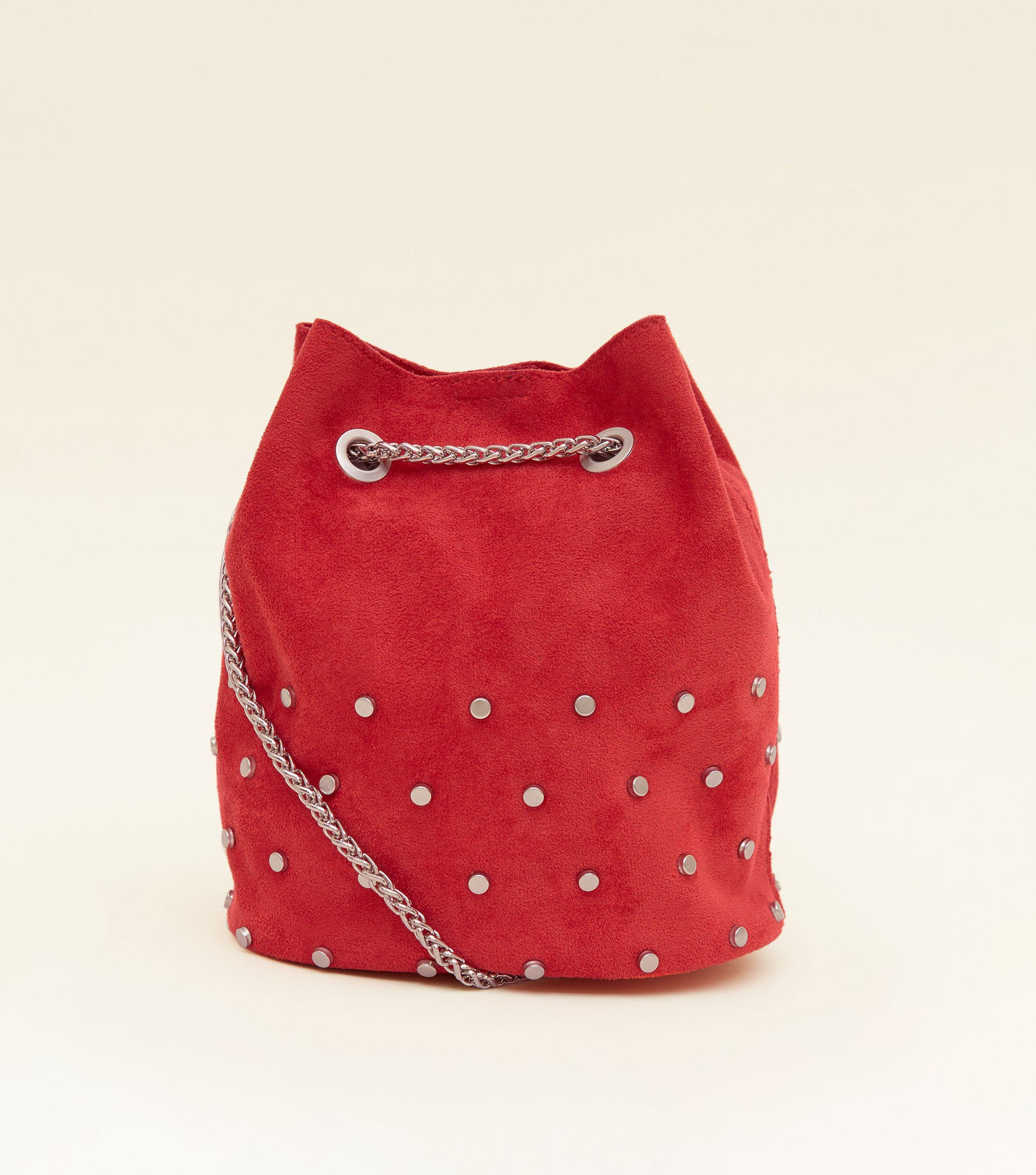 86a346d36 New Look Red Suedette Studded Mini Duffle Bag in Red - Lyst