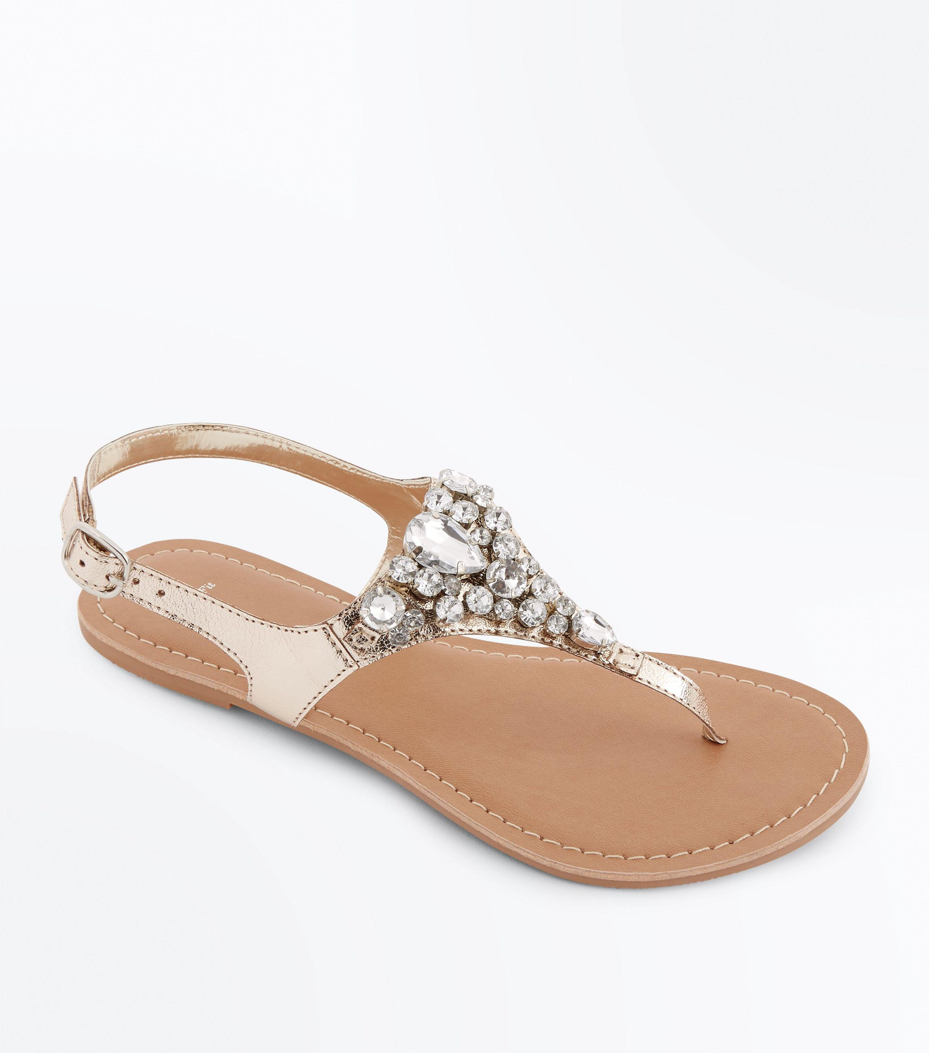 918451a36 New Look Wide Fit Gold Leather Gem Strap Flat Sandals in Metallic - Lyst