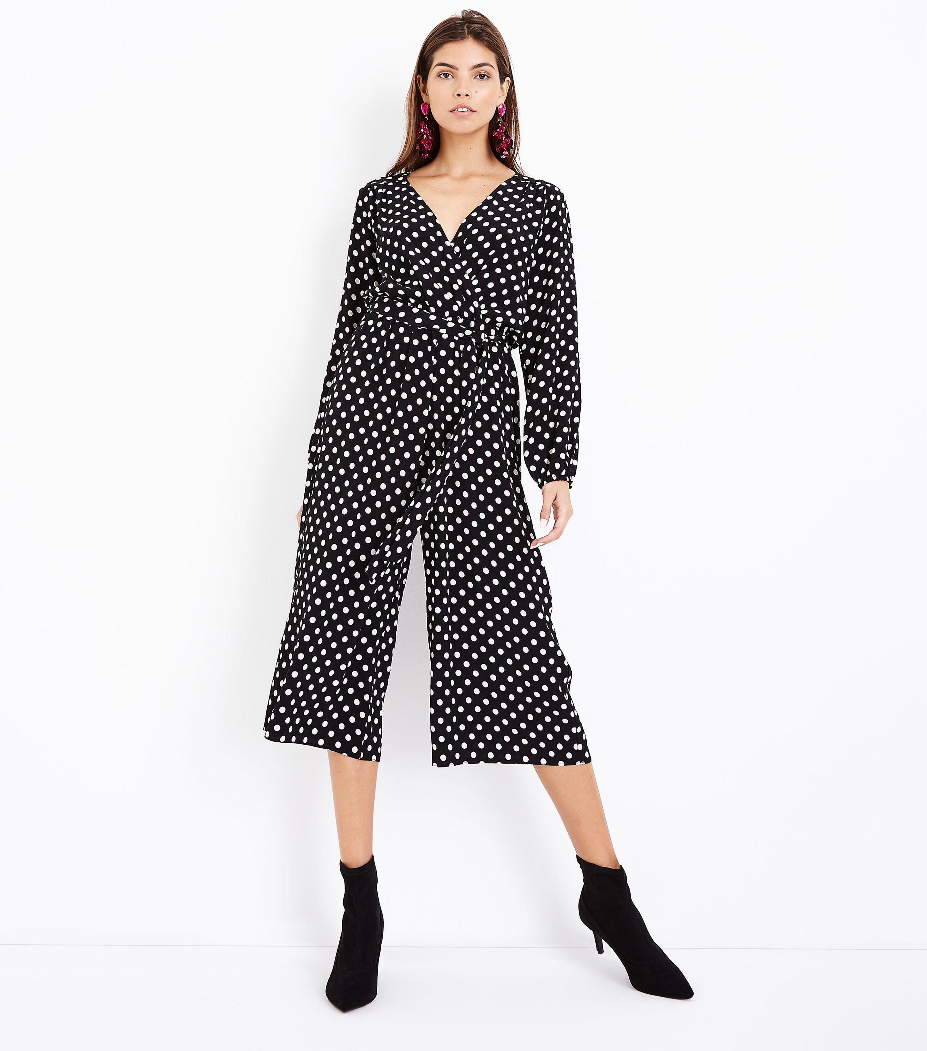 68f136cb206 New Look Black Polka Dot Wrap Front Jumpsuit in Black - Lyst