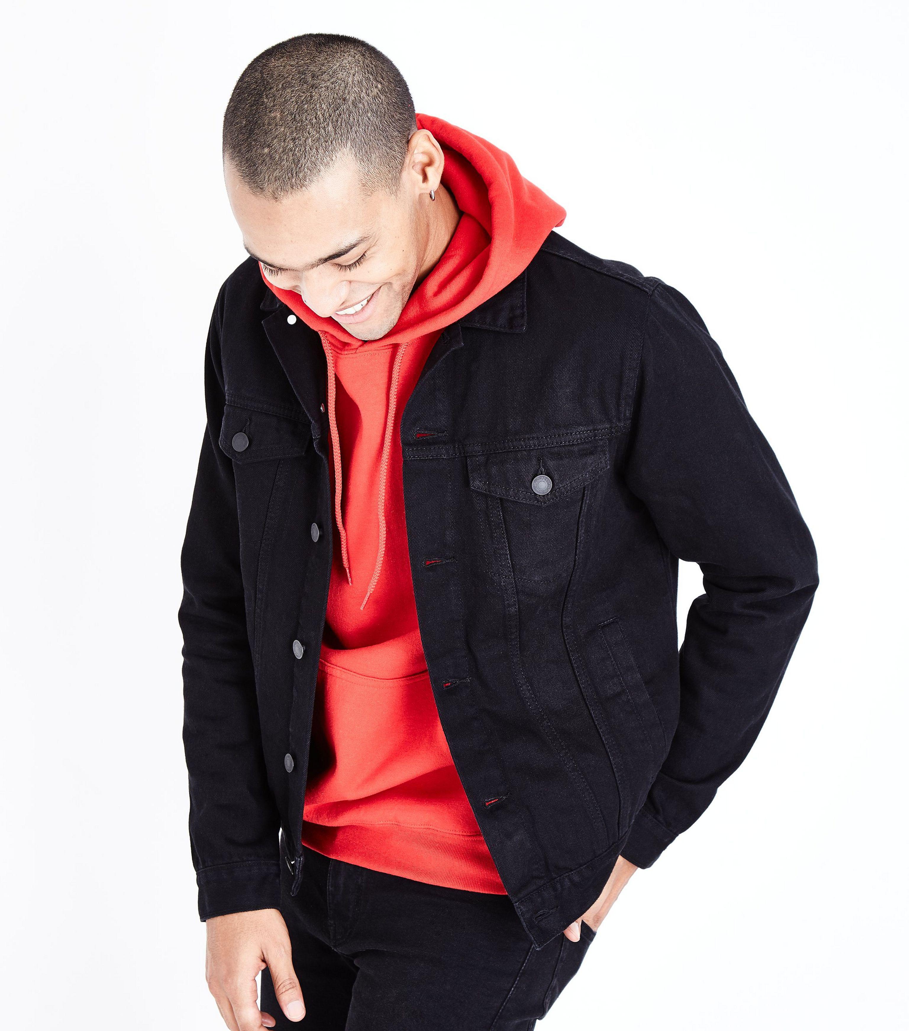 New Look Black Denim Jacket In Black For Men Lyst