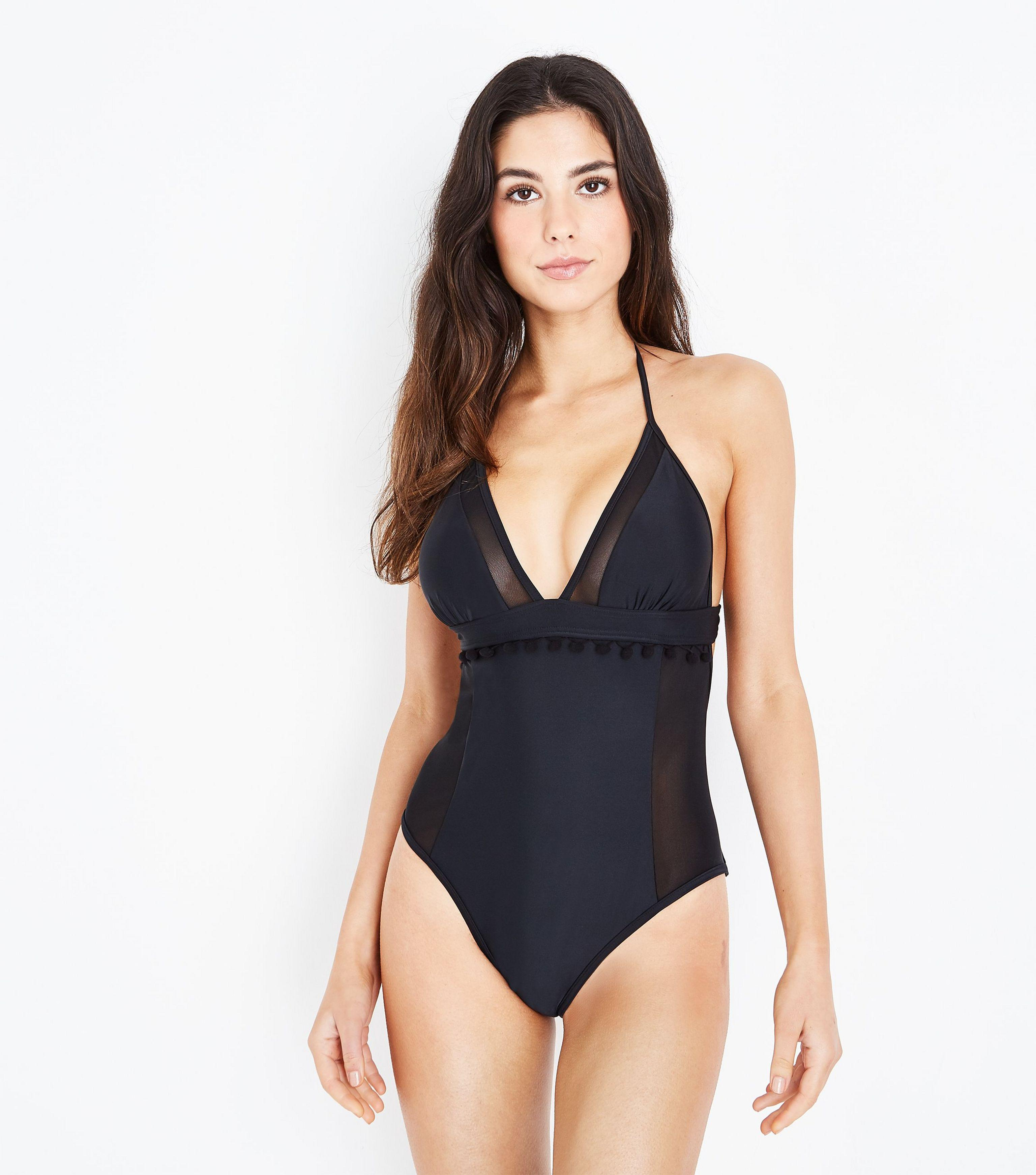 82253765d5d New Look Black Pom Pom Mesh Panel Swimsuit in Black - Lyst