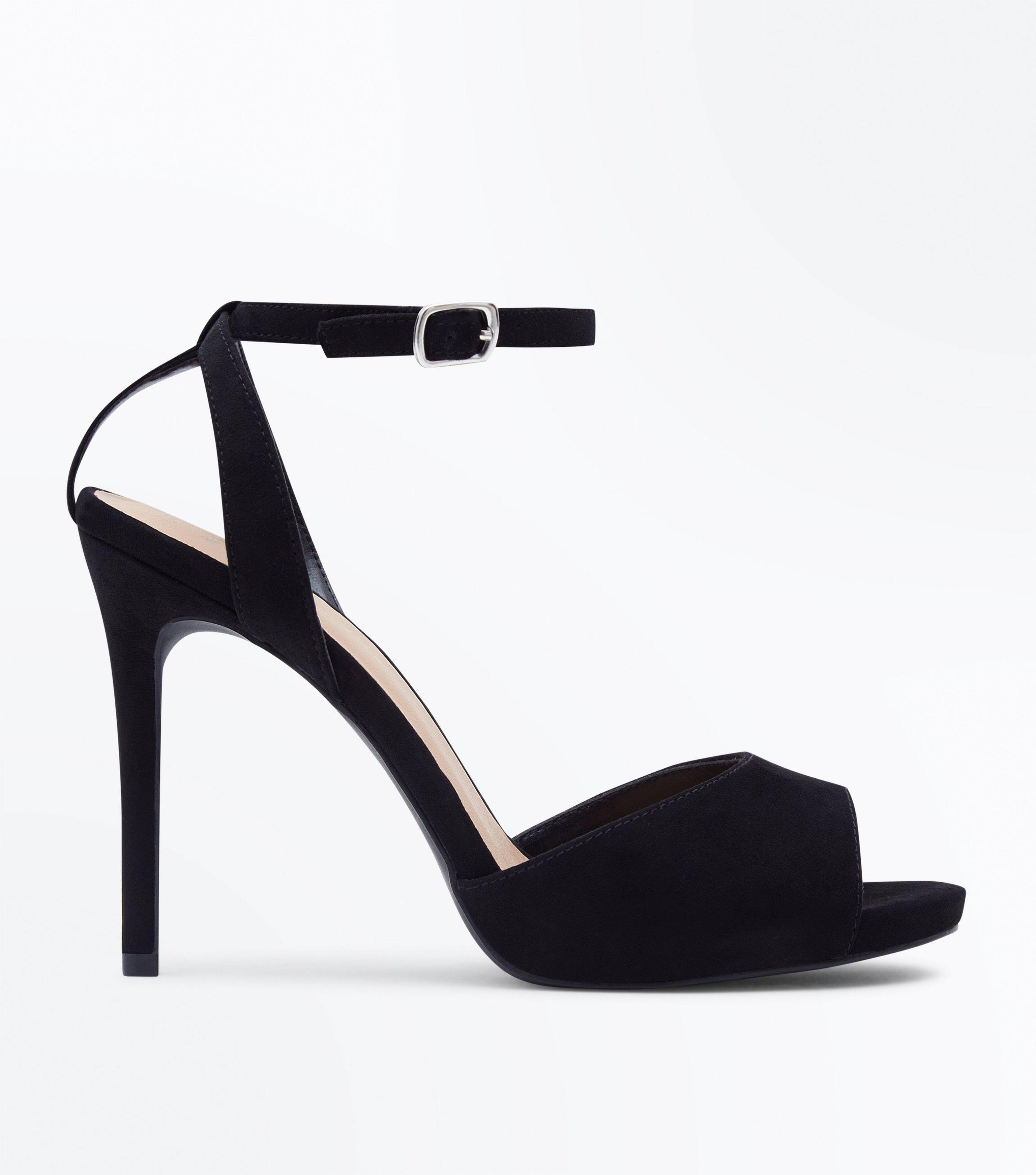 290d47efc20e New Look Wide Fit Black Peep Toe Stiletto Sandals in Black - Lyst