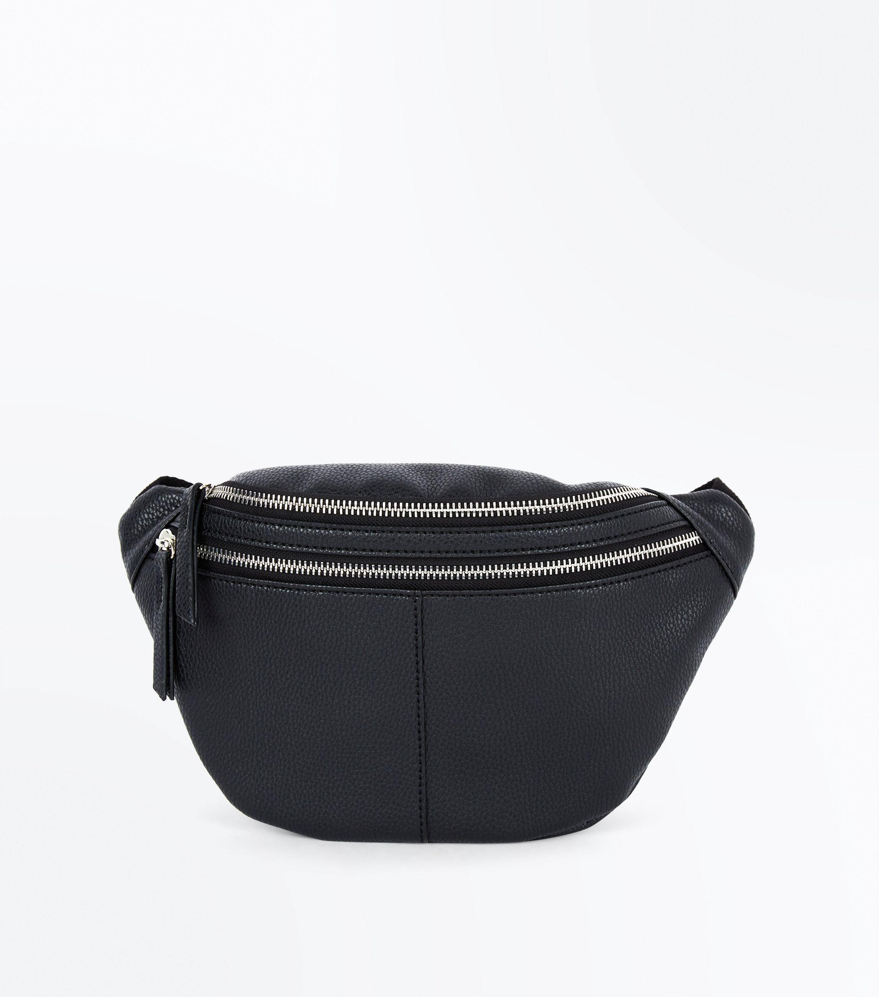 New Look Black Double Pocket Bum Bag in Black - Lyst 853a7a904d