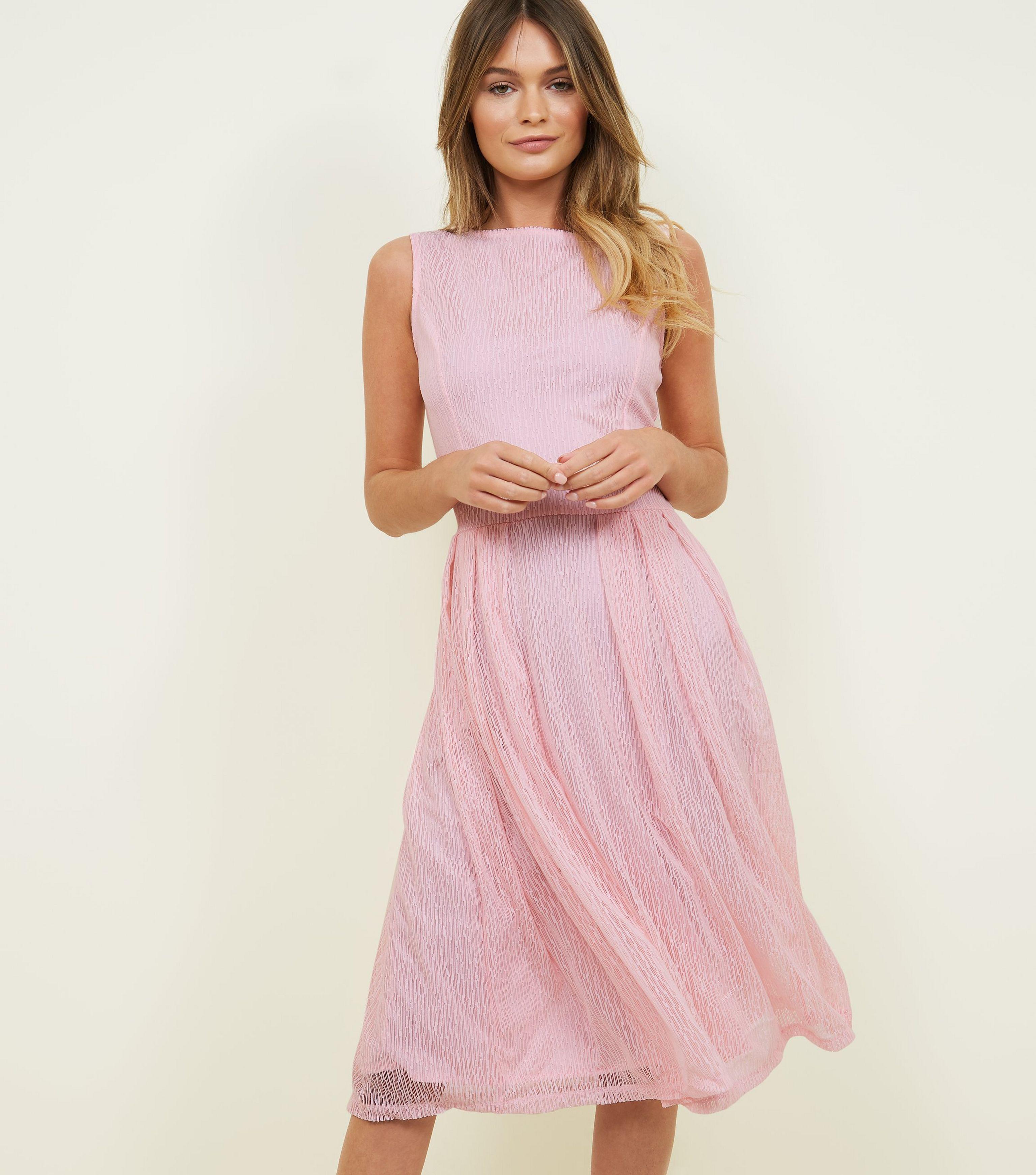 Mela Pink Stripe Texture Prom Dress in Pink - Lyst