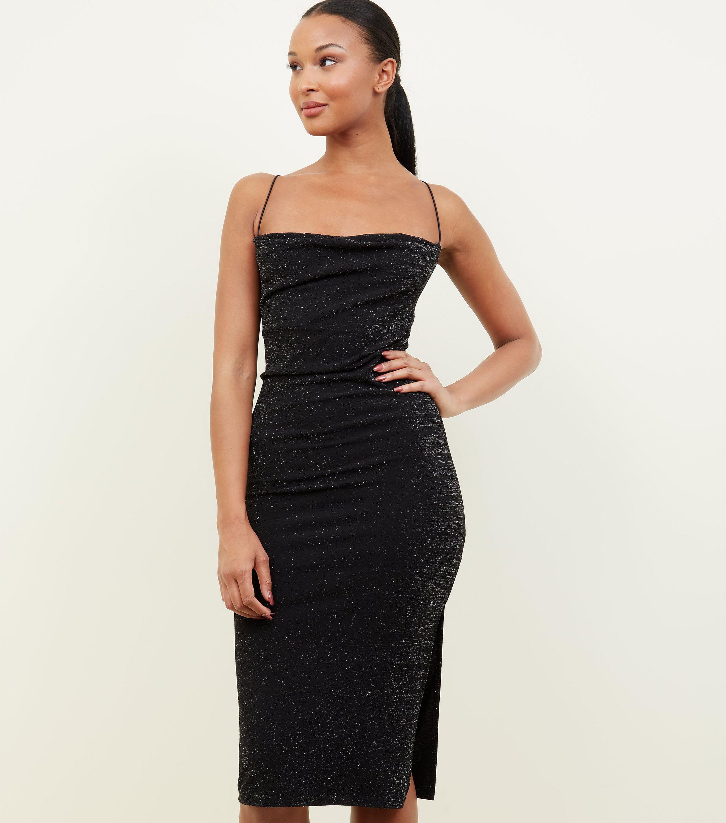 2aeee2a1cd4ab New Look Black Glitter Cowl Neck Midi Dress in Black - Lyst