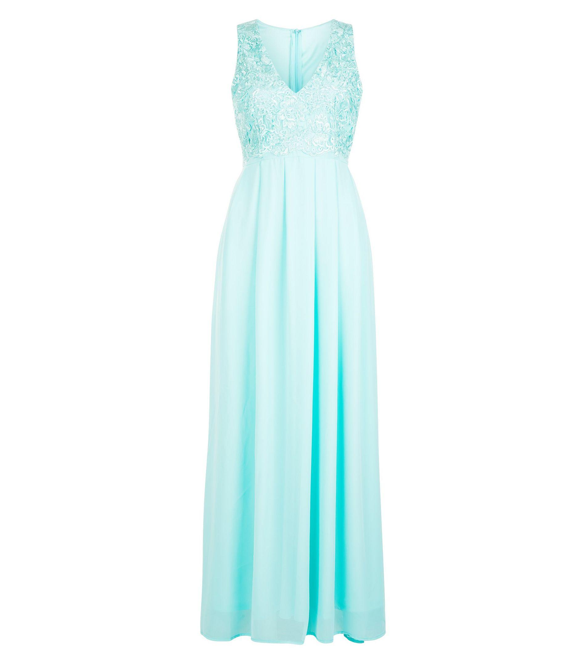 Ax Paris Turquoise Lace Panel Maxi Dress in Blue - Lyst