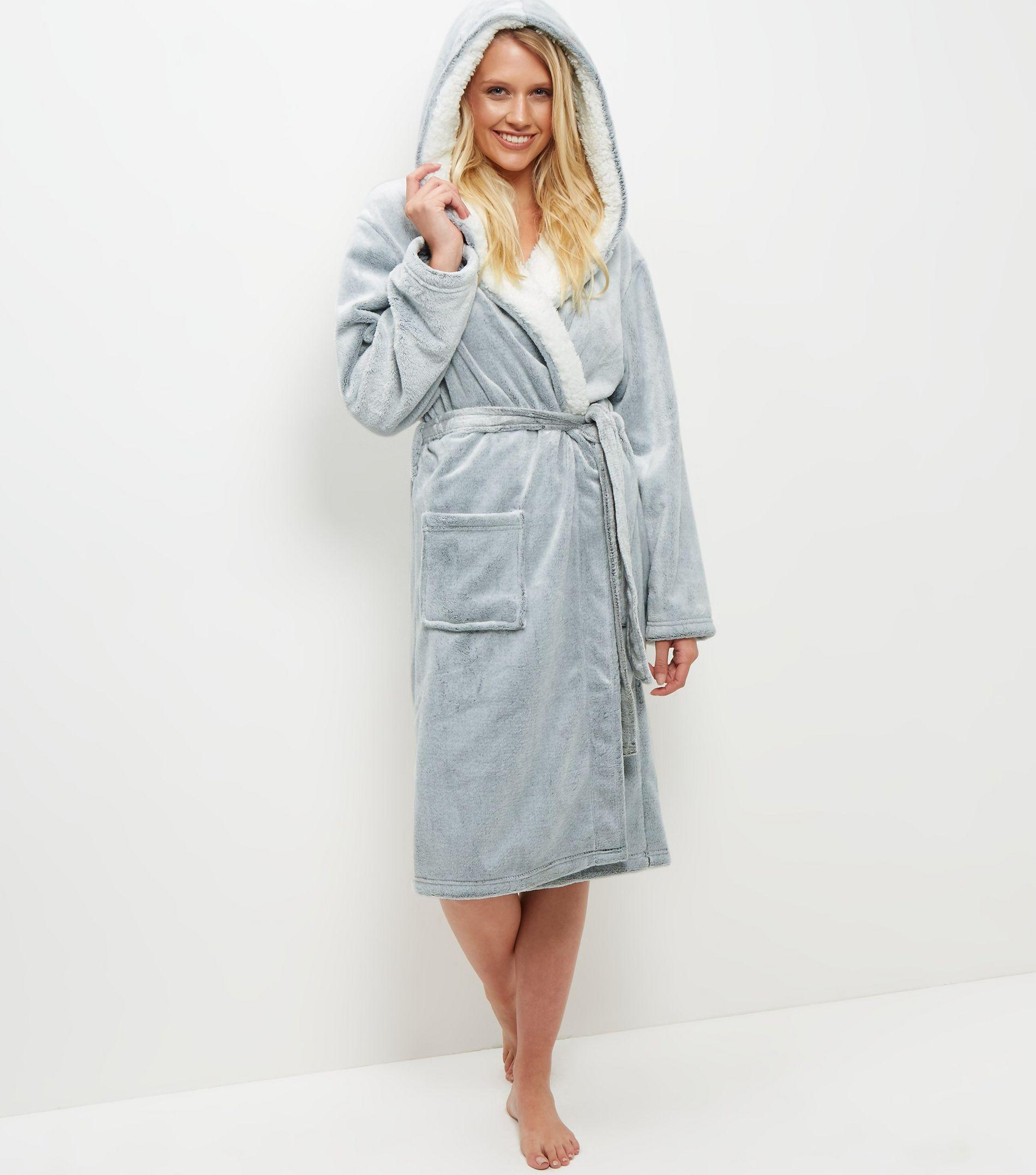 New Look Pale Grey Borg Lined Hooded Dressing Gown in Gray - Lyst