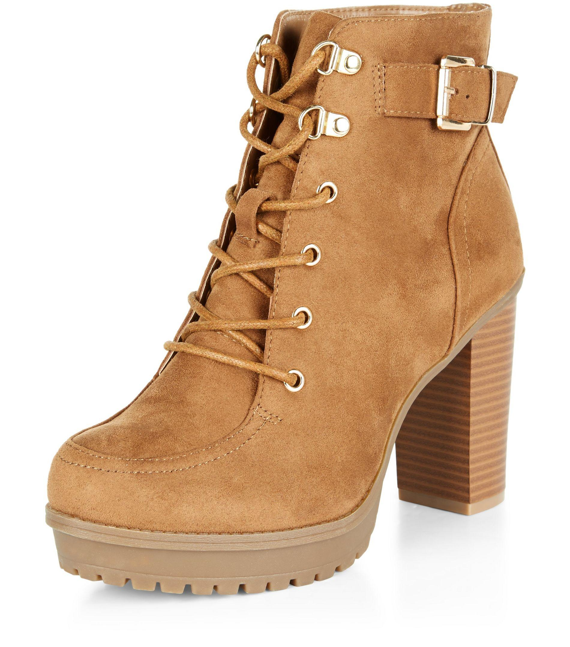e64b0d31b6 New Look Wide Fit Tan Suedette Buckle Strap Lace Up Boots in Brown ...