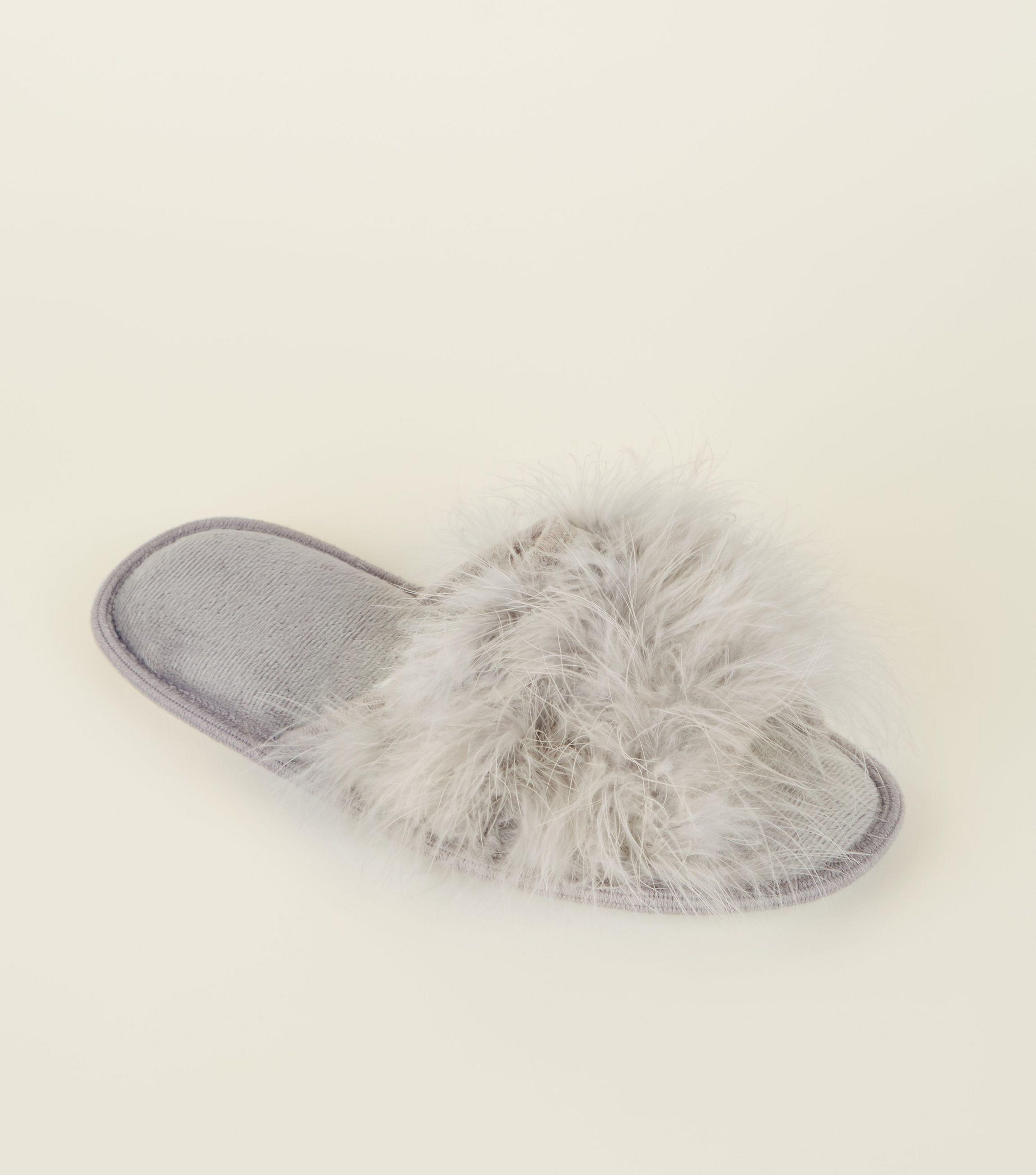 cd4fd520c418 New Look Grey Fluffy Feather Slider Slippers in Gray - Lyst