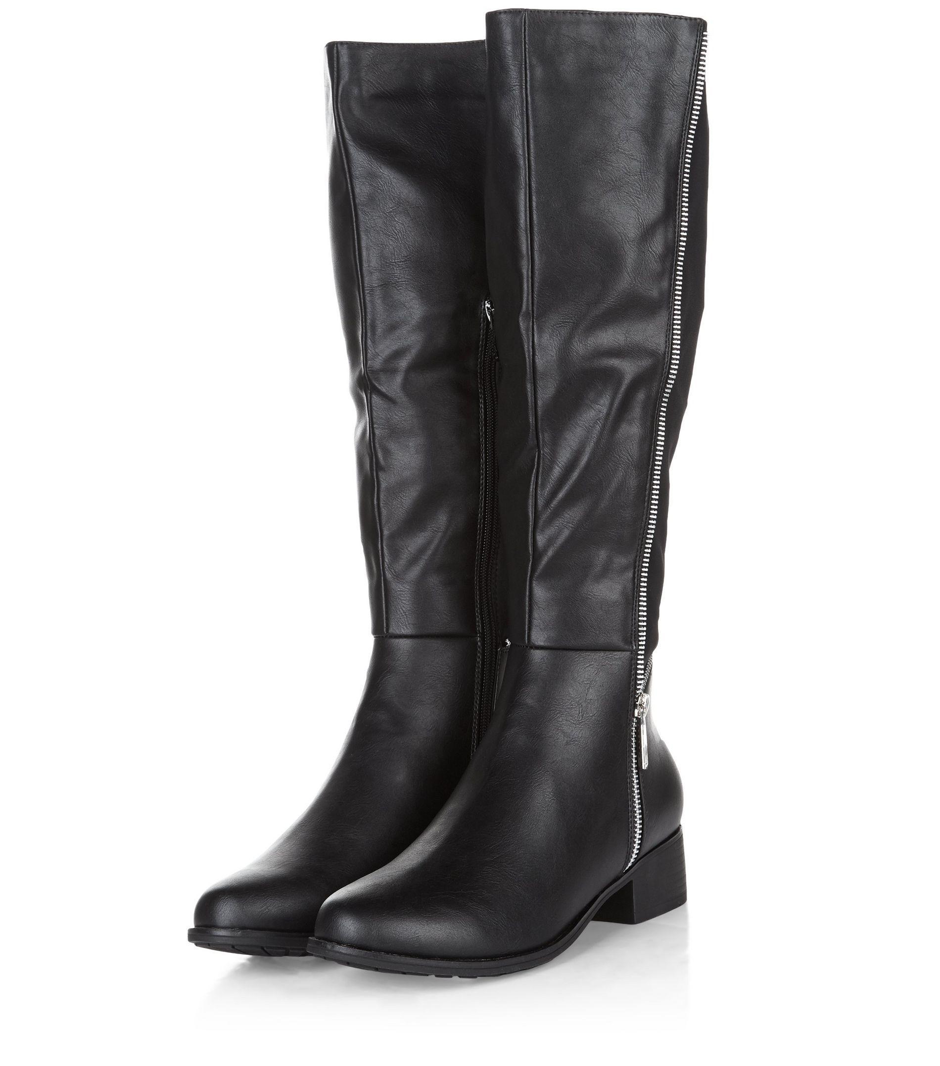 new look black zip side knee high boots in black lyst
