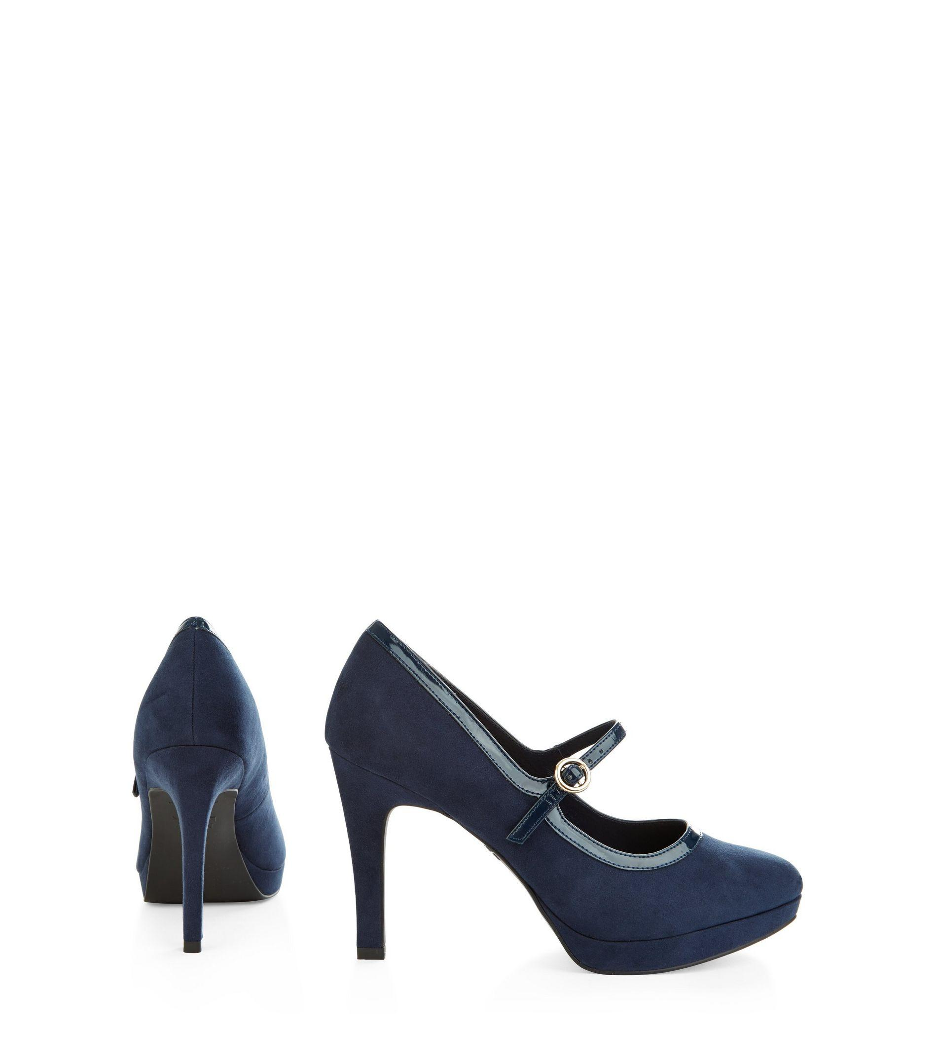 Navy Blue Wide Fit Court Shoes