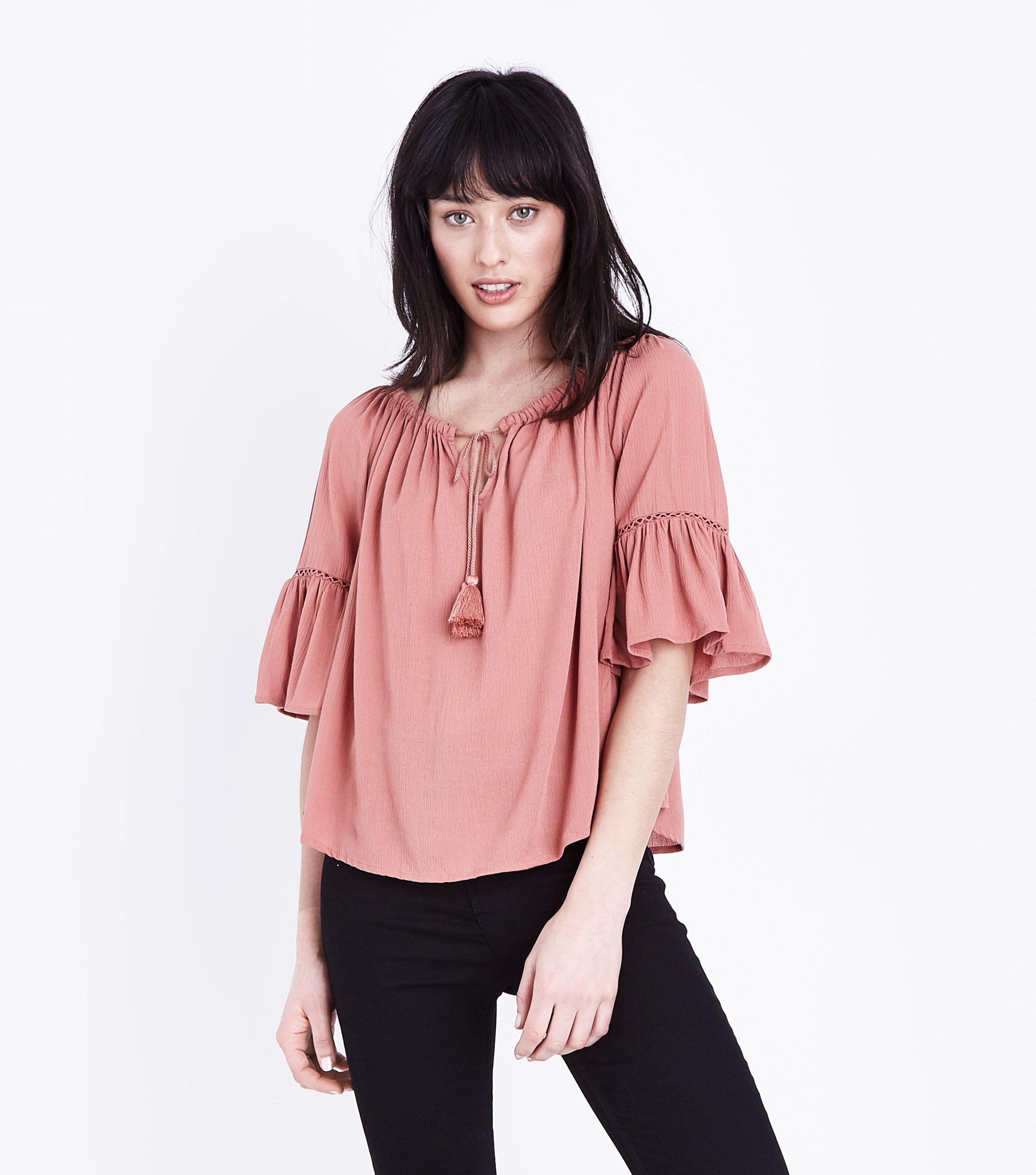 903d487e41669 New Look Coral Tassel Front Bell Sleeve Bardot Top in Pink - Lyst
