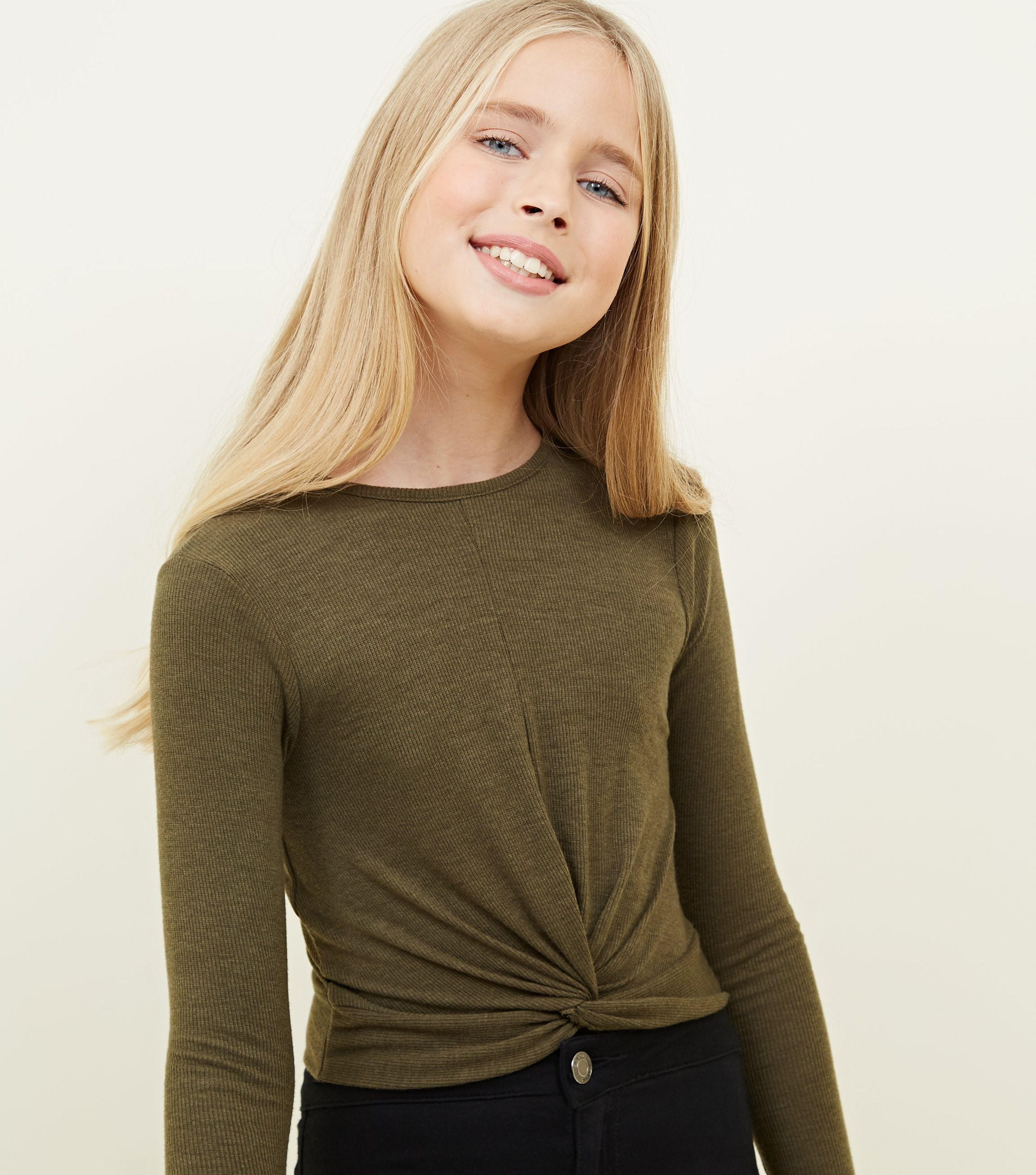 89b858cc New Look. Women's Natural Girls Khaki Ribbed Twist Front Long Sleeve Top