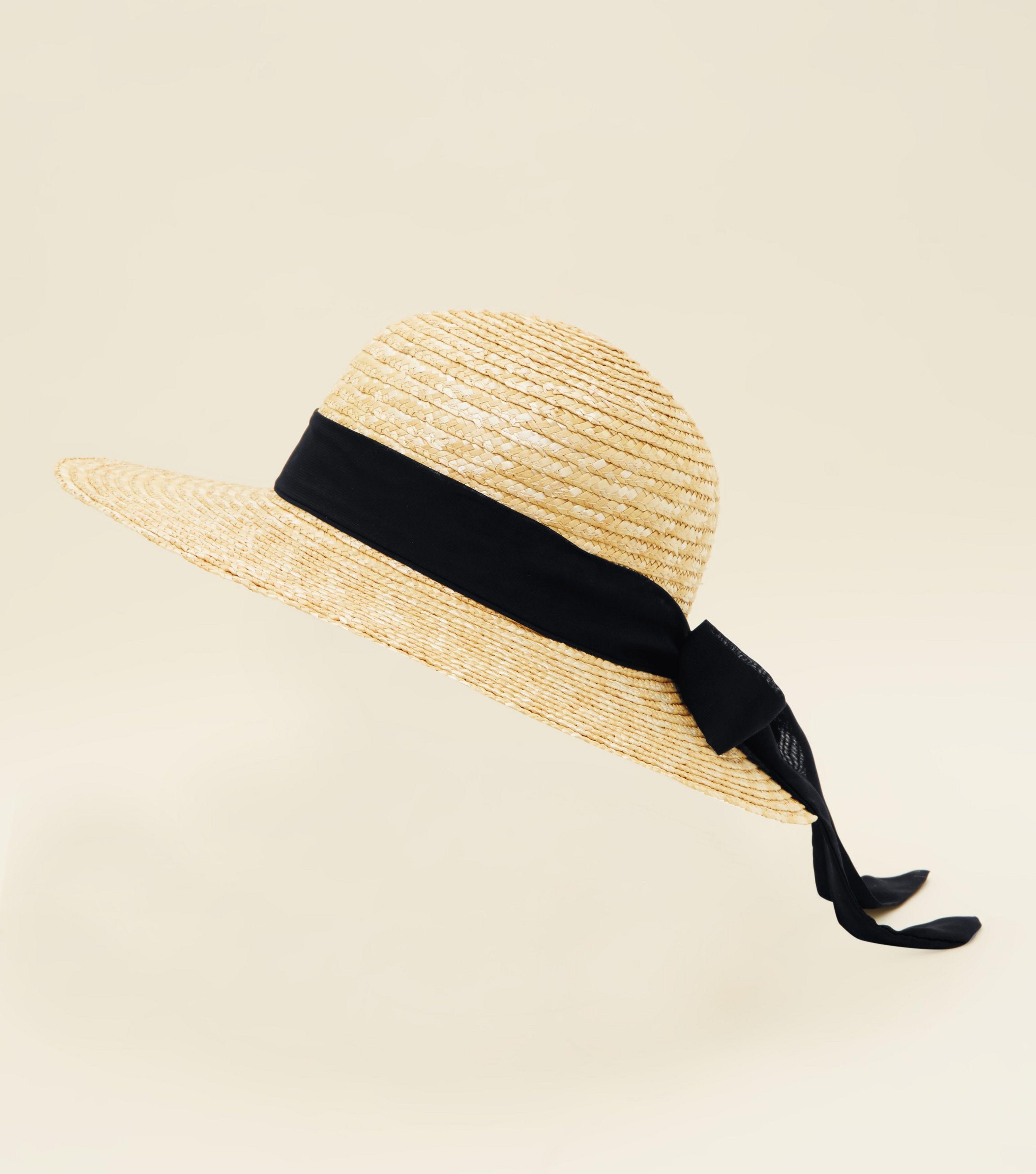 6a5146cf2f9 New Look Stone Ribbon Straw Hat - Lyst
