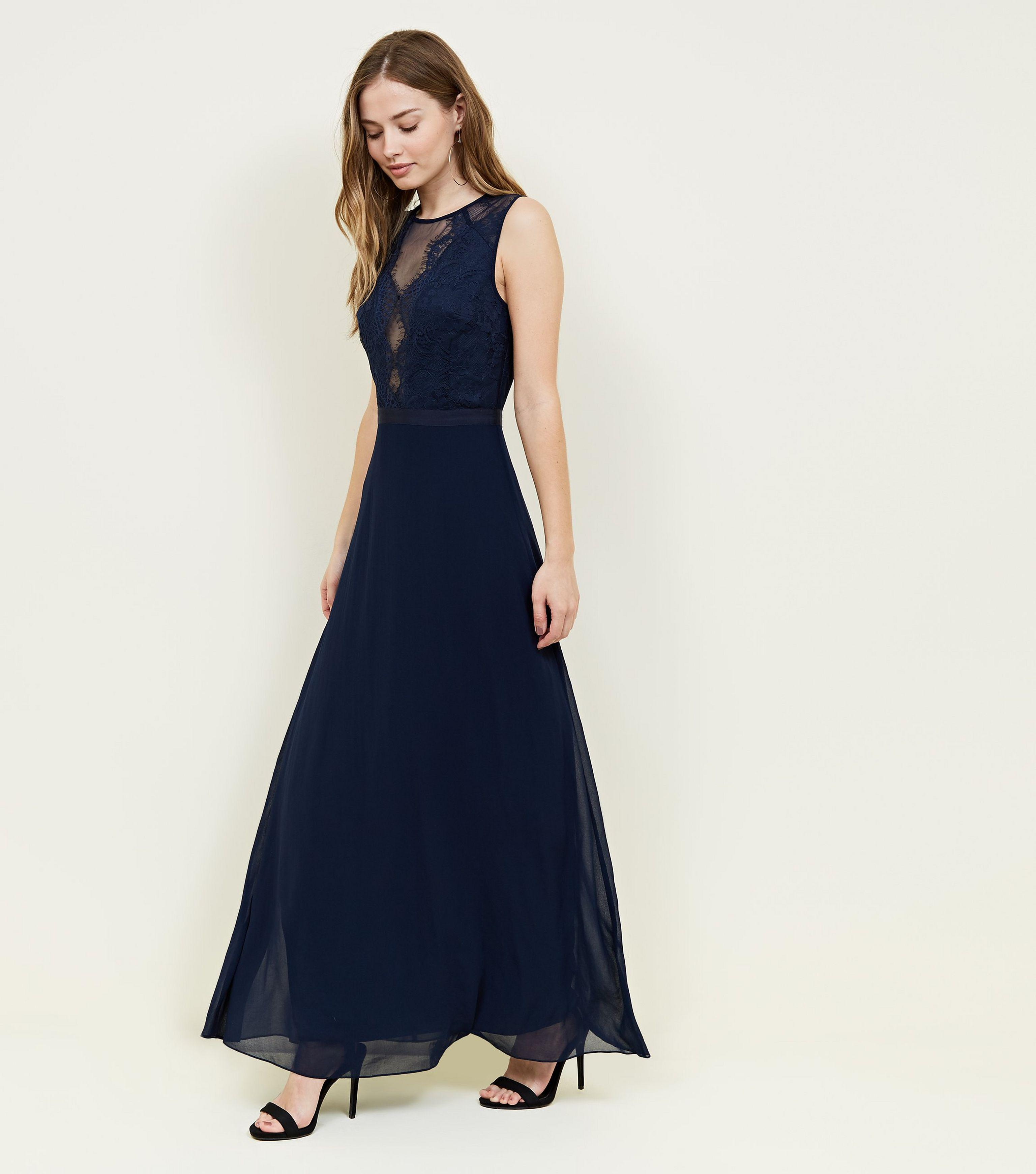 New Look Navy Lace And Chiffon Maxi Party Dress in Blue - Lyst 1a870f4e6