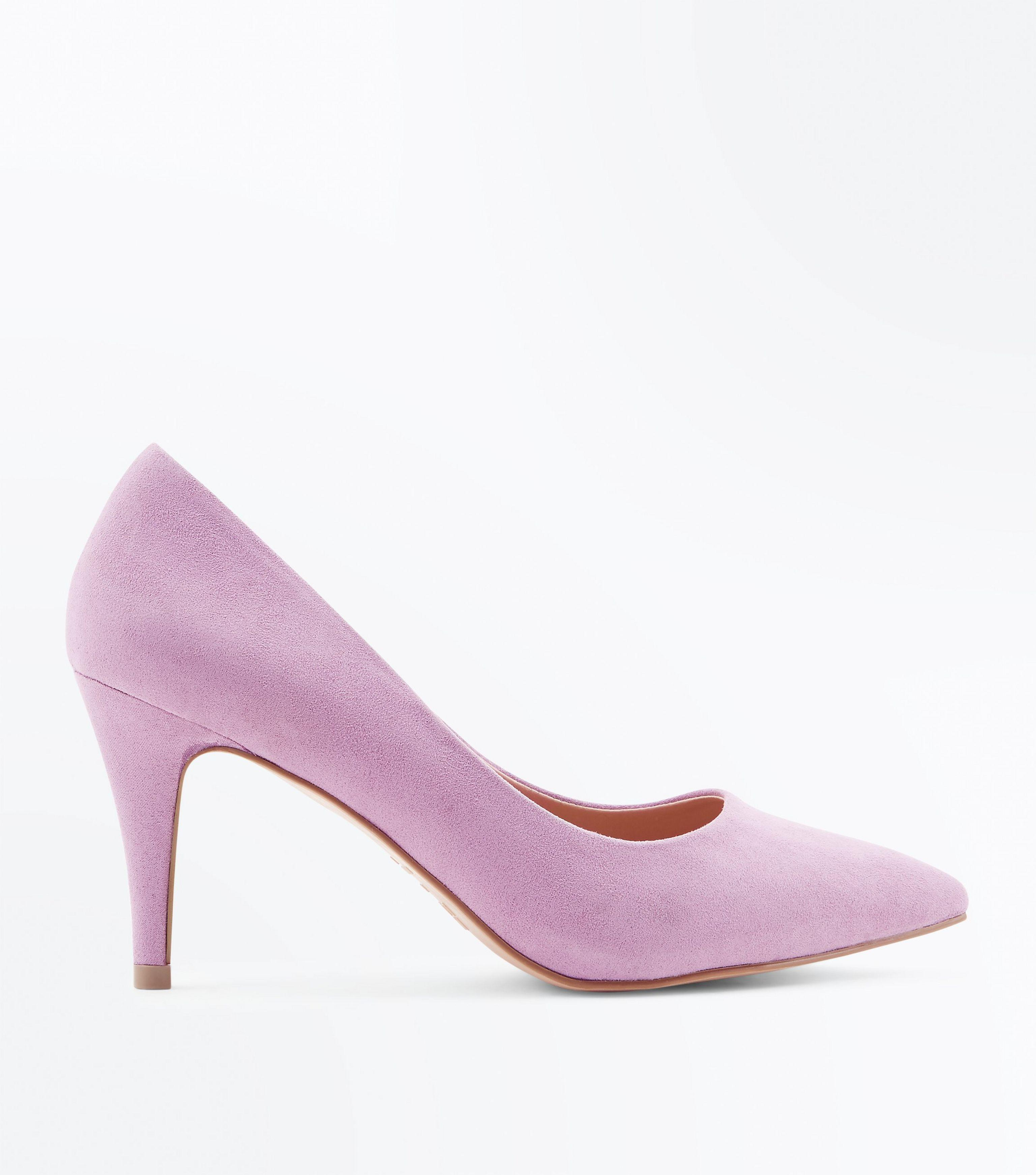 e83c6668046 New Look Wide Fit Lilac Suedette Pointed Court Shoes in Purple - Lyst