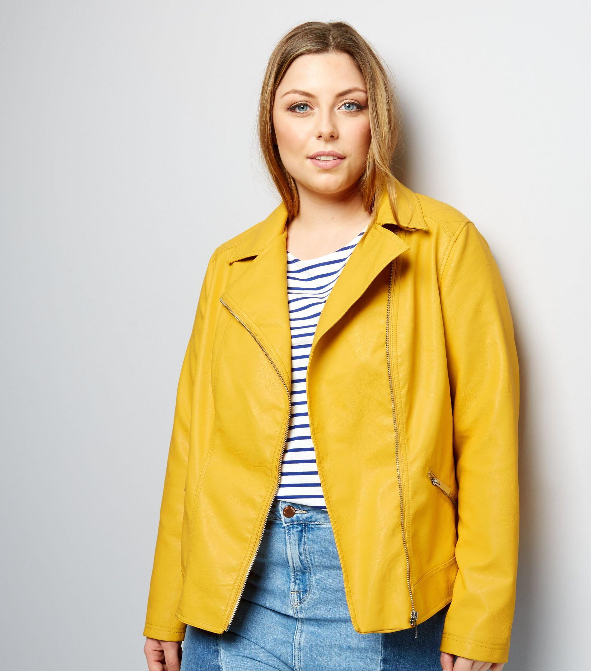 1127bc79fe732 New Look Curves Yellow Leather-look Biker Jacket in Yellow - Lyst