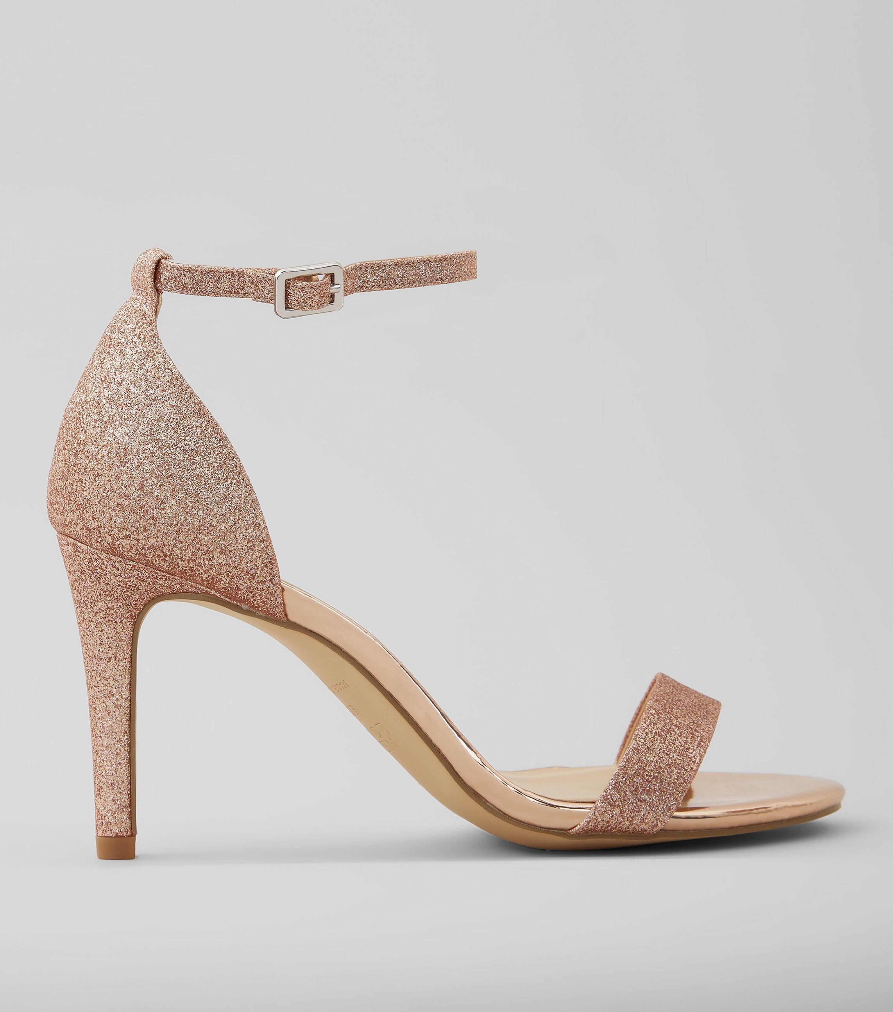 a58da82ddbfd New Look Wide Fit Rose Gold Glitter Heeled Sandals - Lyst