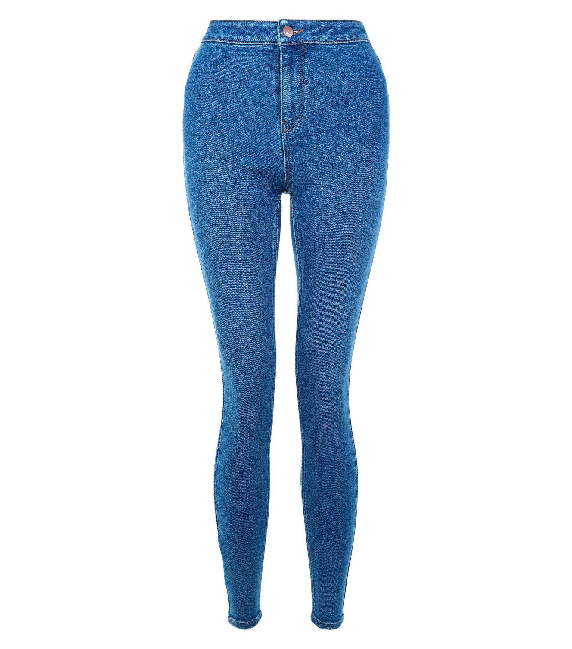 new look blue high waist skinny hallie jeans in blue lyst. Black Bedroom Furniture Sets. Home Design Ideas