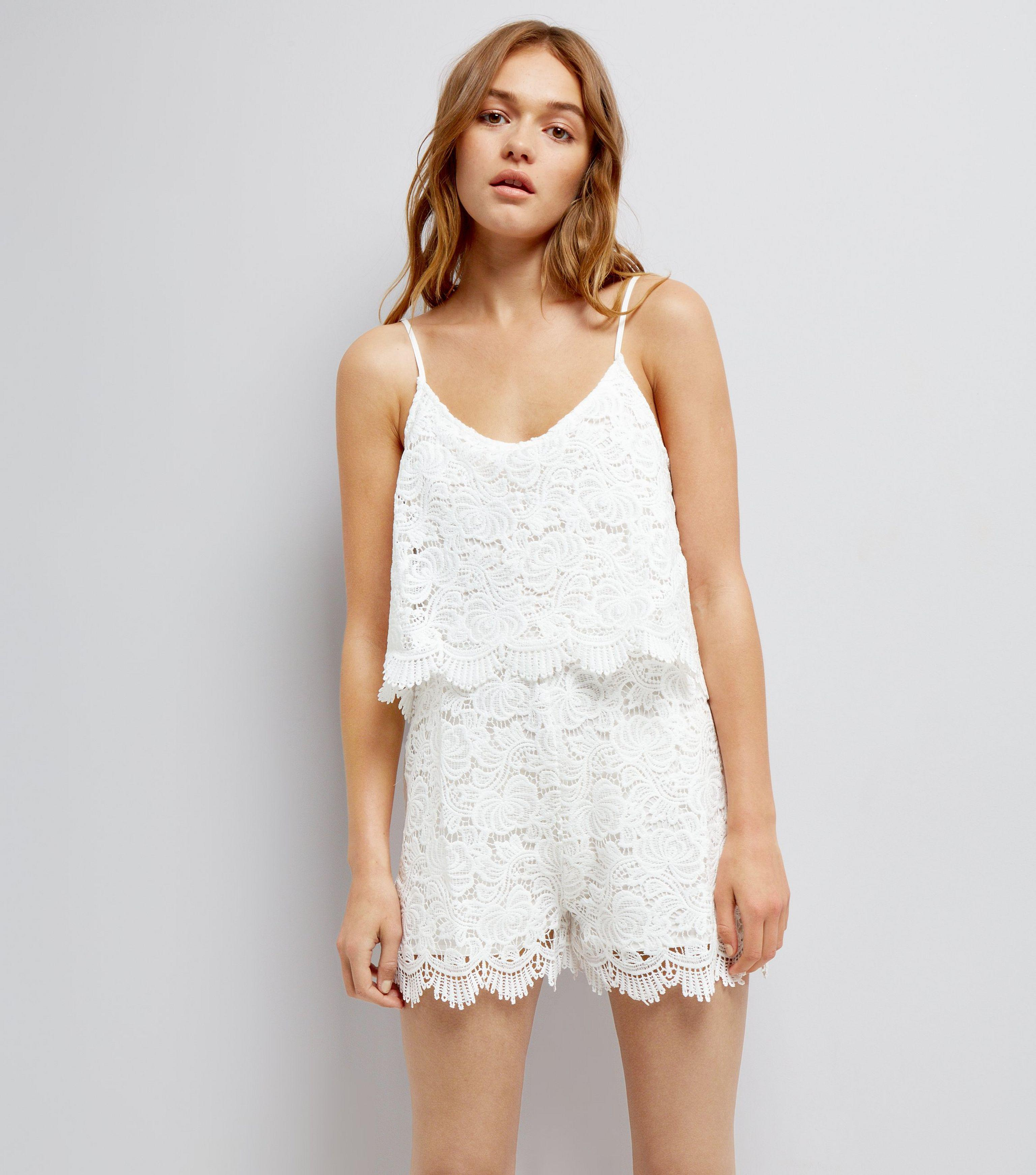 de9cd3a21f0 Urban Bliss Urban Bliss White Lace Playsuit in White - Lyst