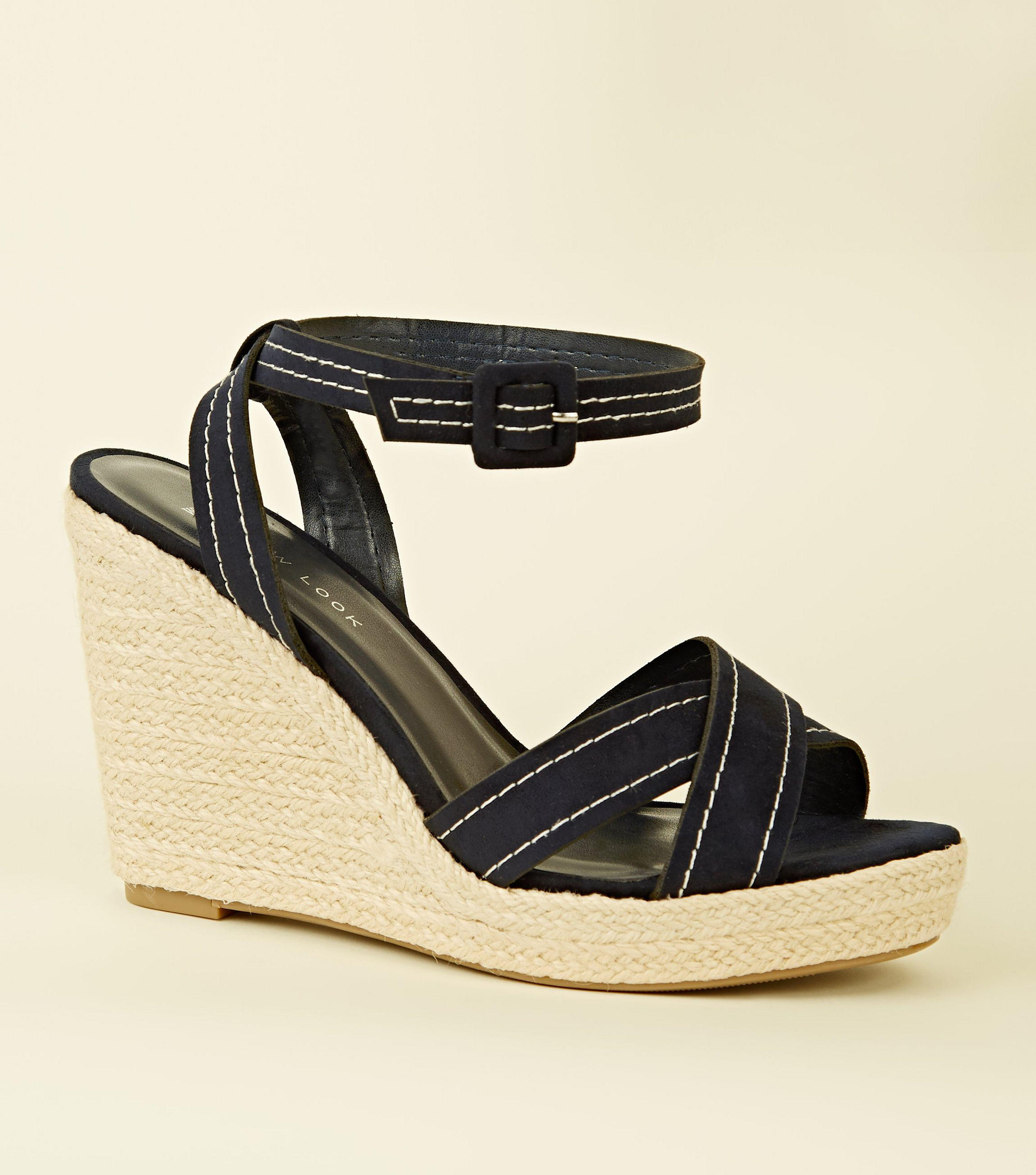 d6e4c12f4cb New Look Wide Fit Navy Suedette Contrast Stitch Wedges in Blue - Lyst
