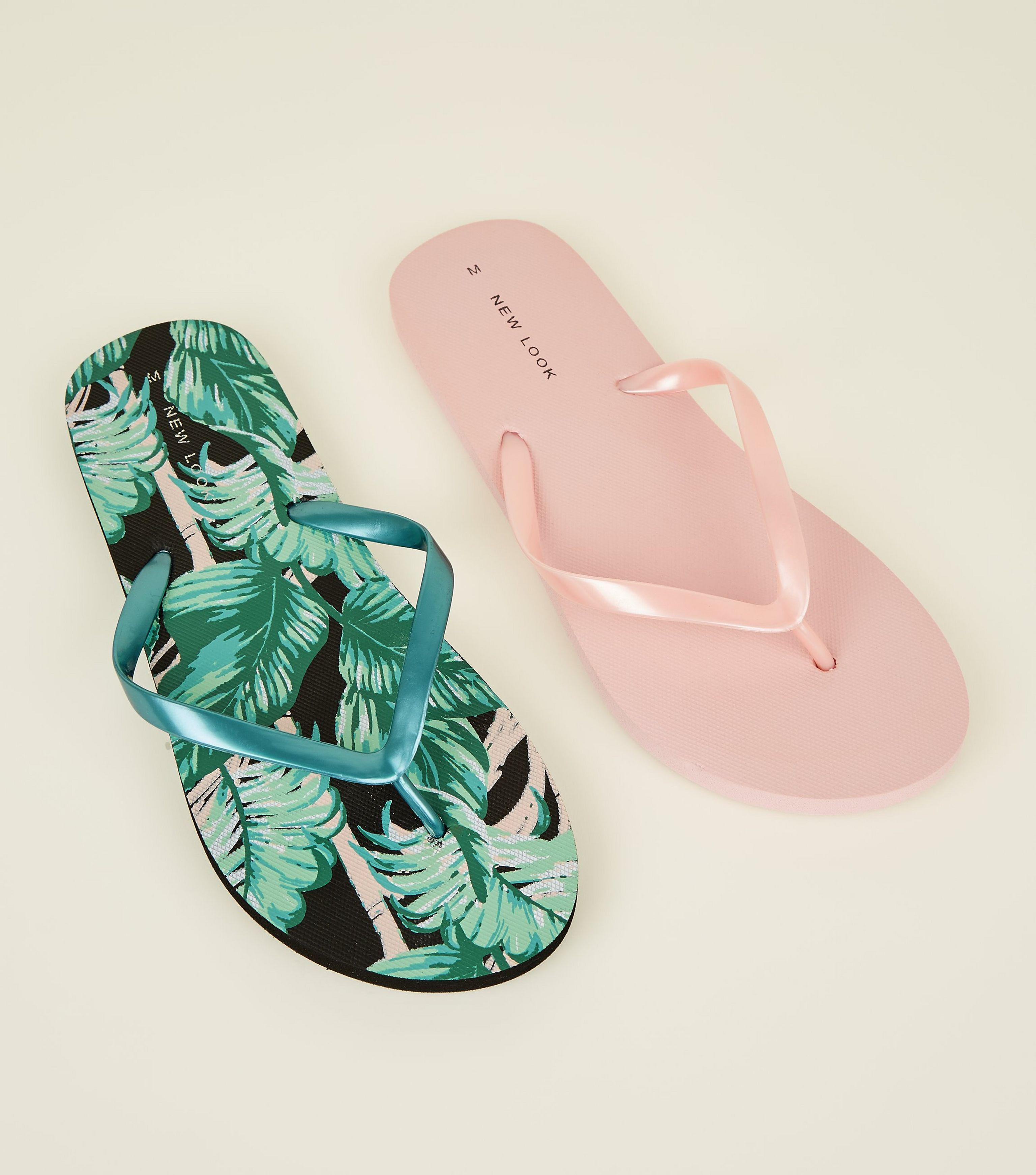 3570cb4448695 New Look 2 Pack Pink And Green Tropical Flip Flops in Pink - Lyst