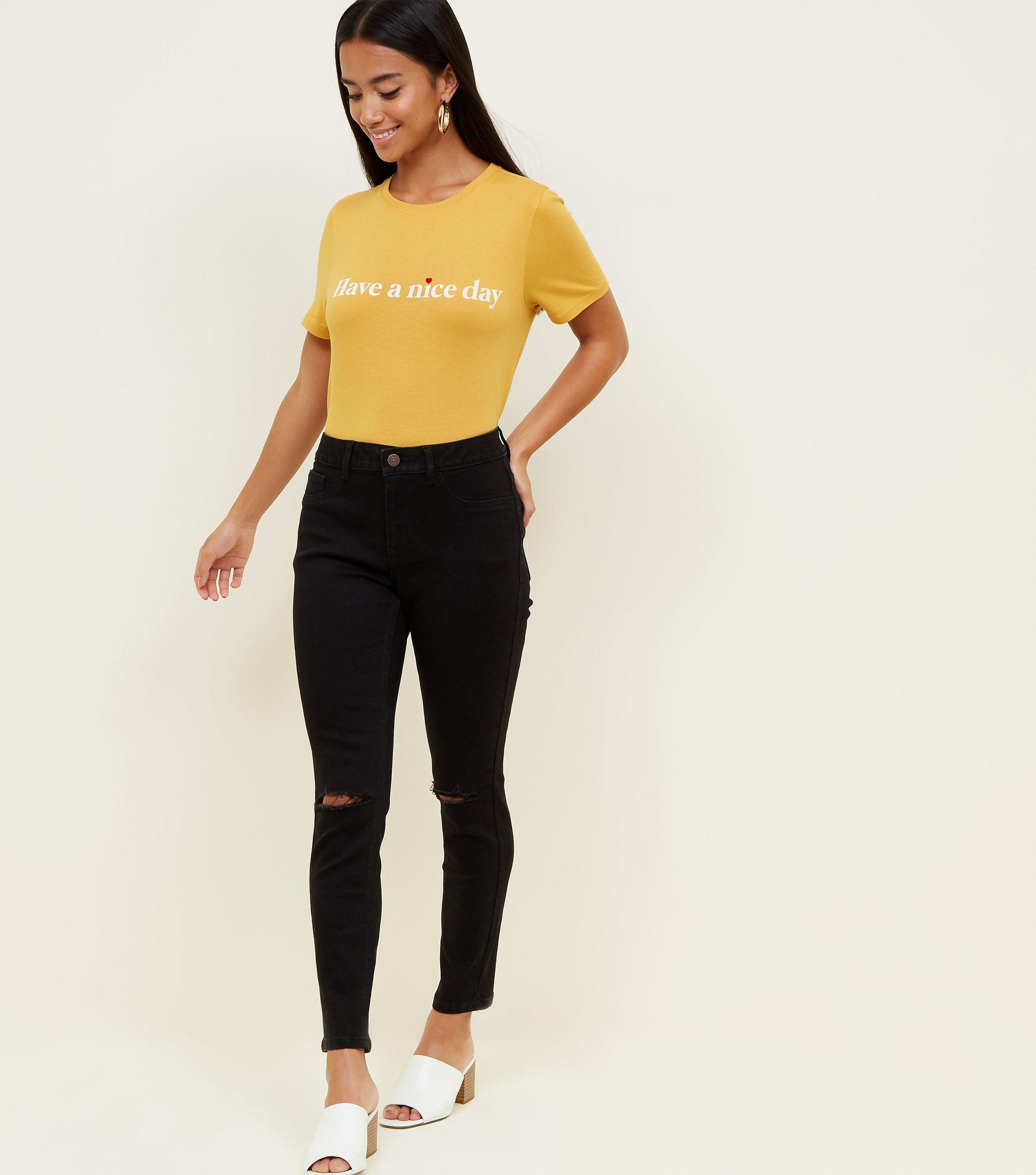15fd96d8d2f New Look Petite Black Skinny Ripped Knee Jenna Jeans in Black - Lyst