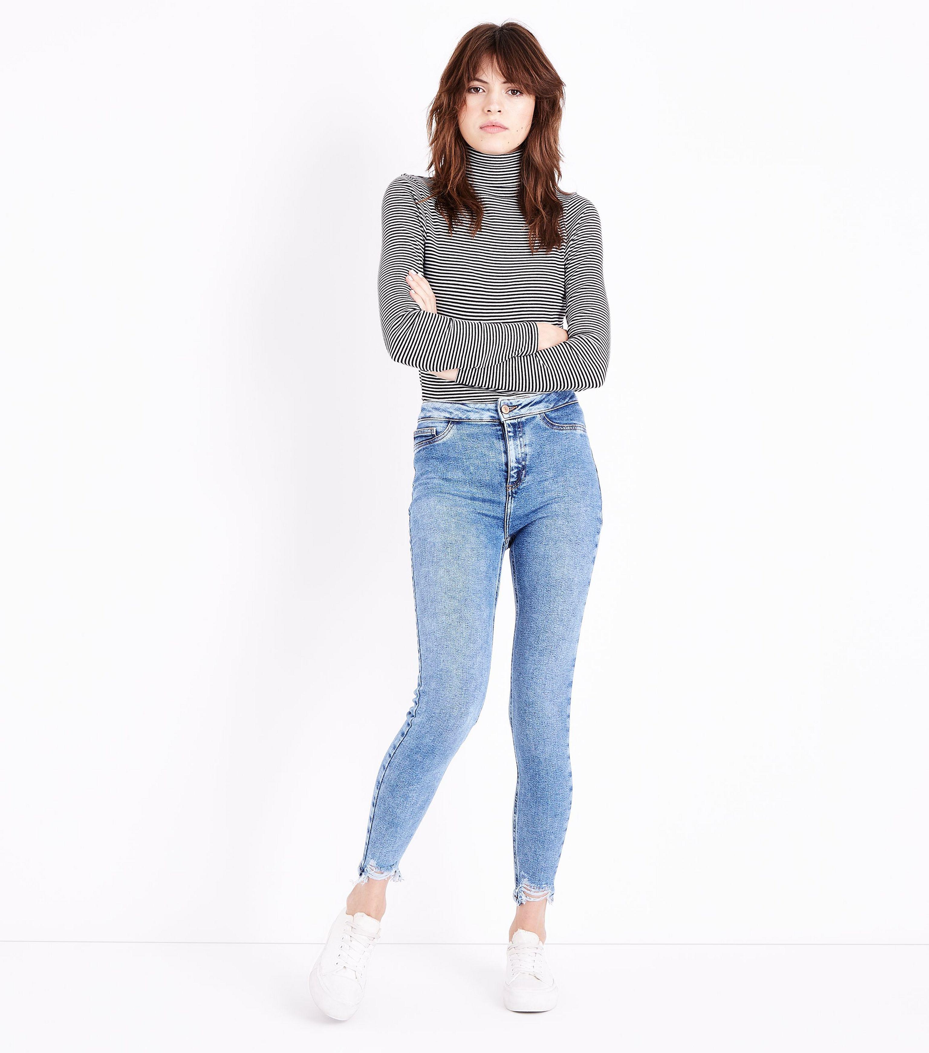 b3bc2bd950527 New Look Blue Fray Hem High Waist Super Skinny Hallie Jeans in Blue ...