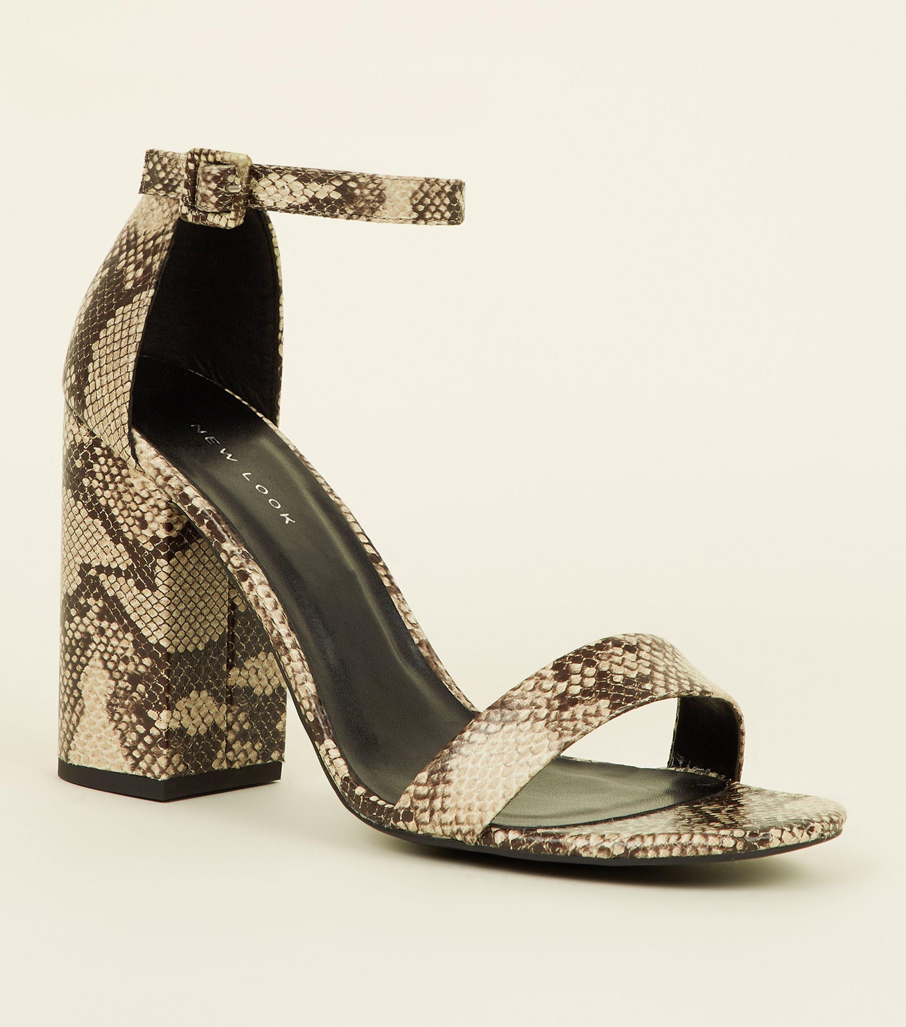 2e0557744eb New Look. Women s Stone Faux Snake Block Heel Sandals