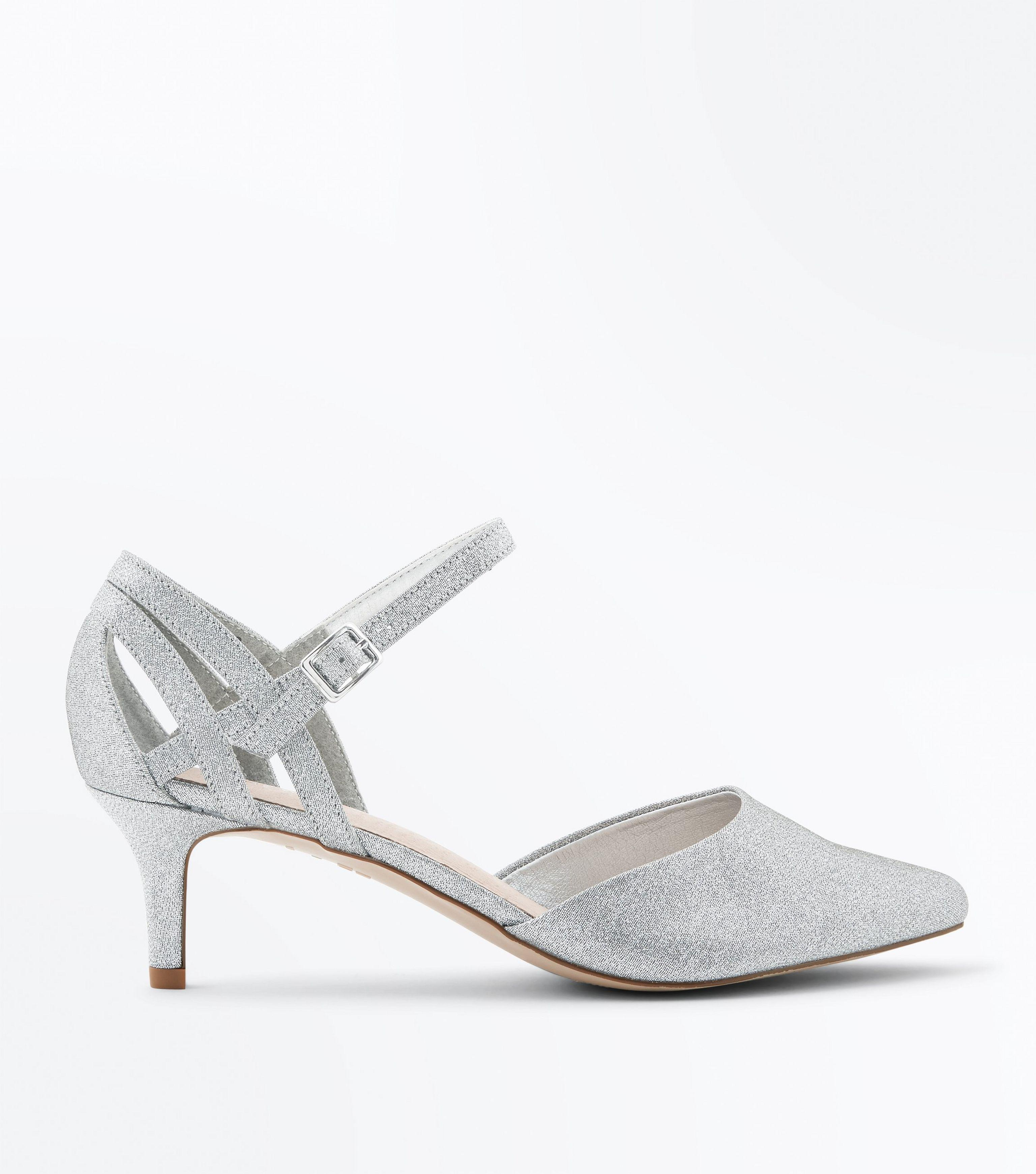 95b12db53a New Look Wide Fit Silver Comfort Flex Shimmer Pointed Kitten Heels ...
