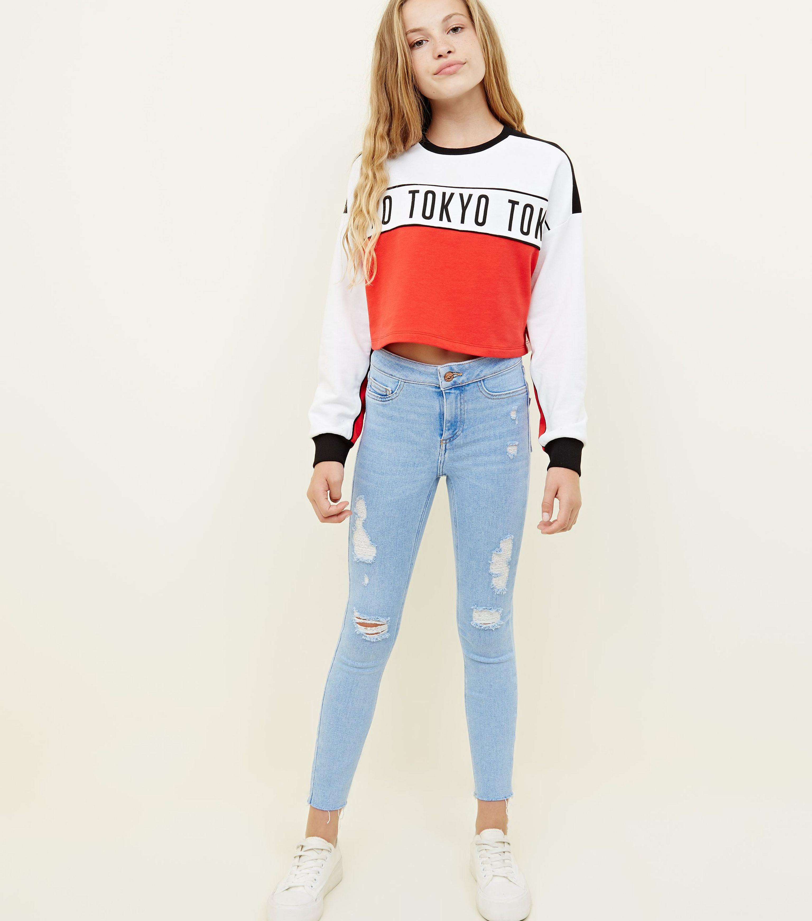 13dc3371d7ea New Look Girls Pale Blue High Waist Ripped Super Skinny Jeans in ...