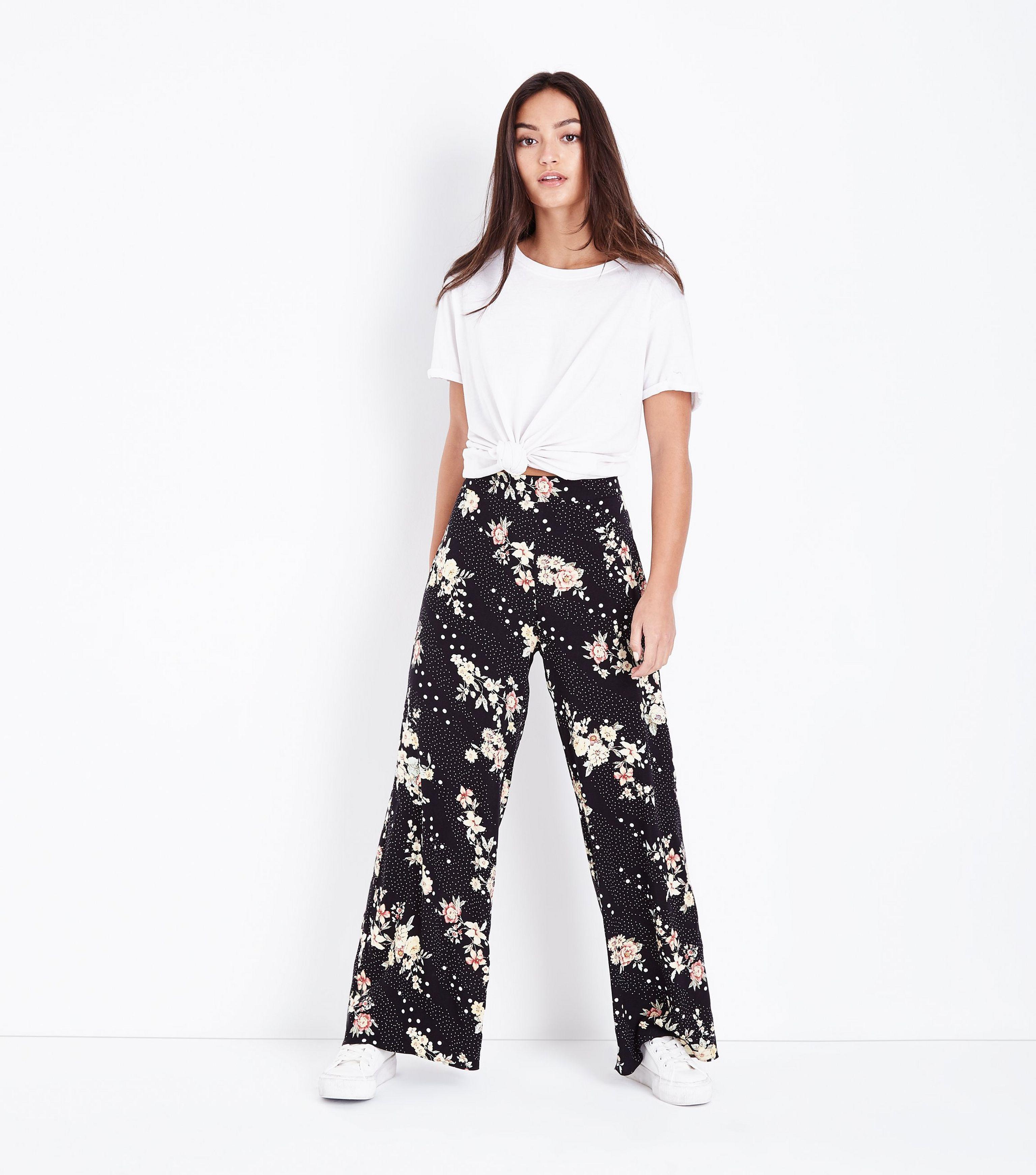 3a51fa2da45 New Look Petite Black Floral Spot Print Wide Leg Trousers in Black ...