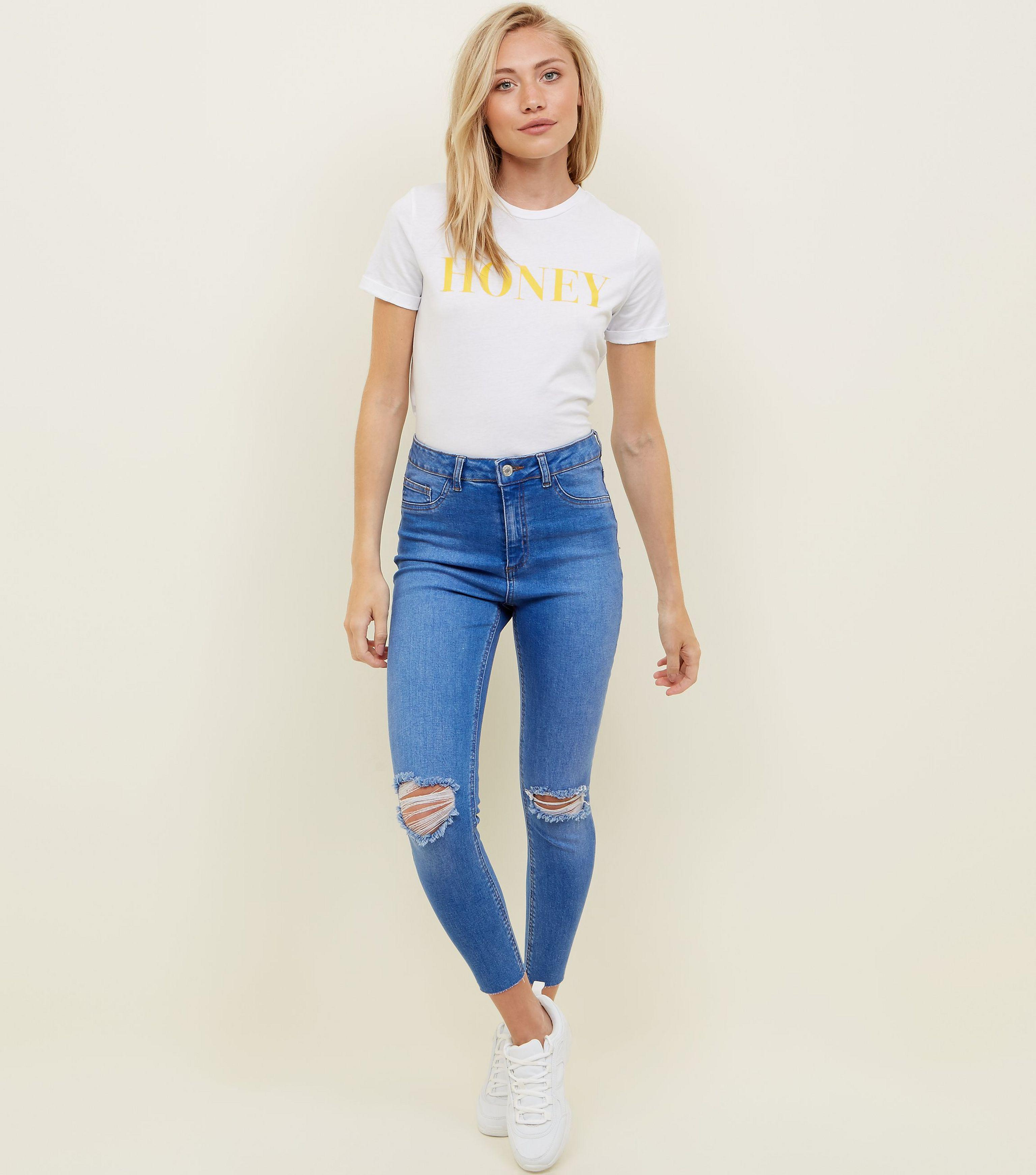 95b93e2045f New Look Petite Bright Blue Ripped High Waist Super Skinny Jeans in ...