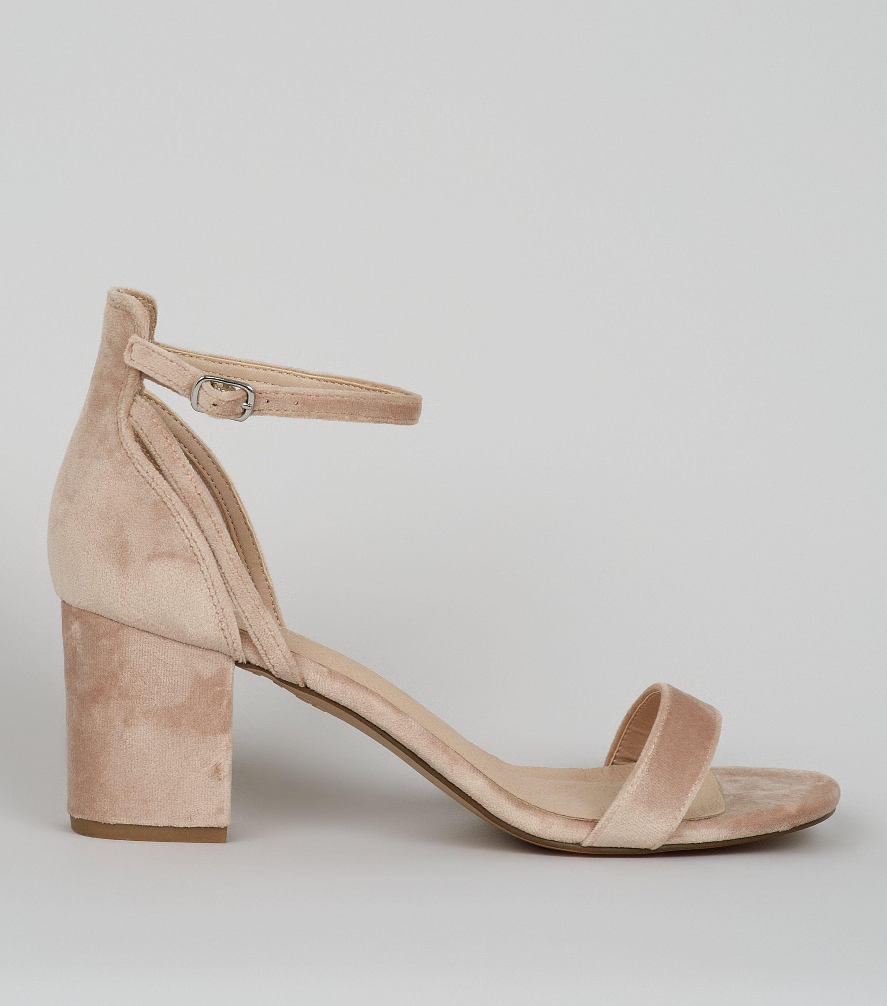 0980e490a13de7 New Look Nude Pink Velvet Low Block Heeled Sandals in Natural - Lyst