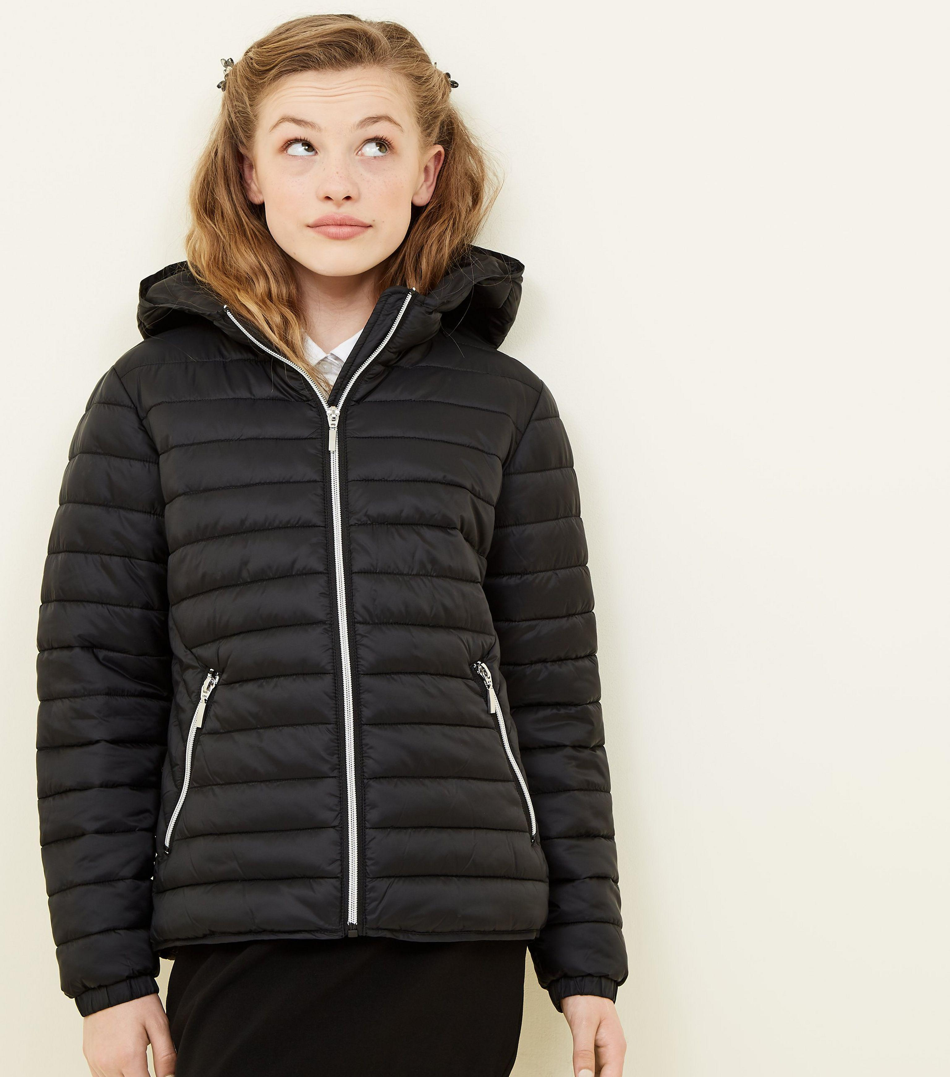 3ba75e0a3 New Look Girls Black Lightweight Hooded Puffer Jacket in Black - Lyst