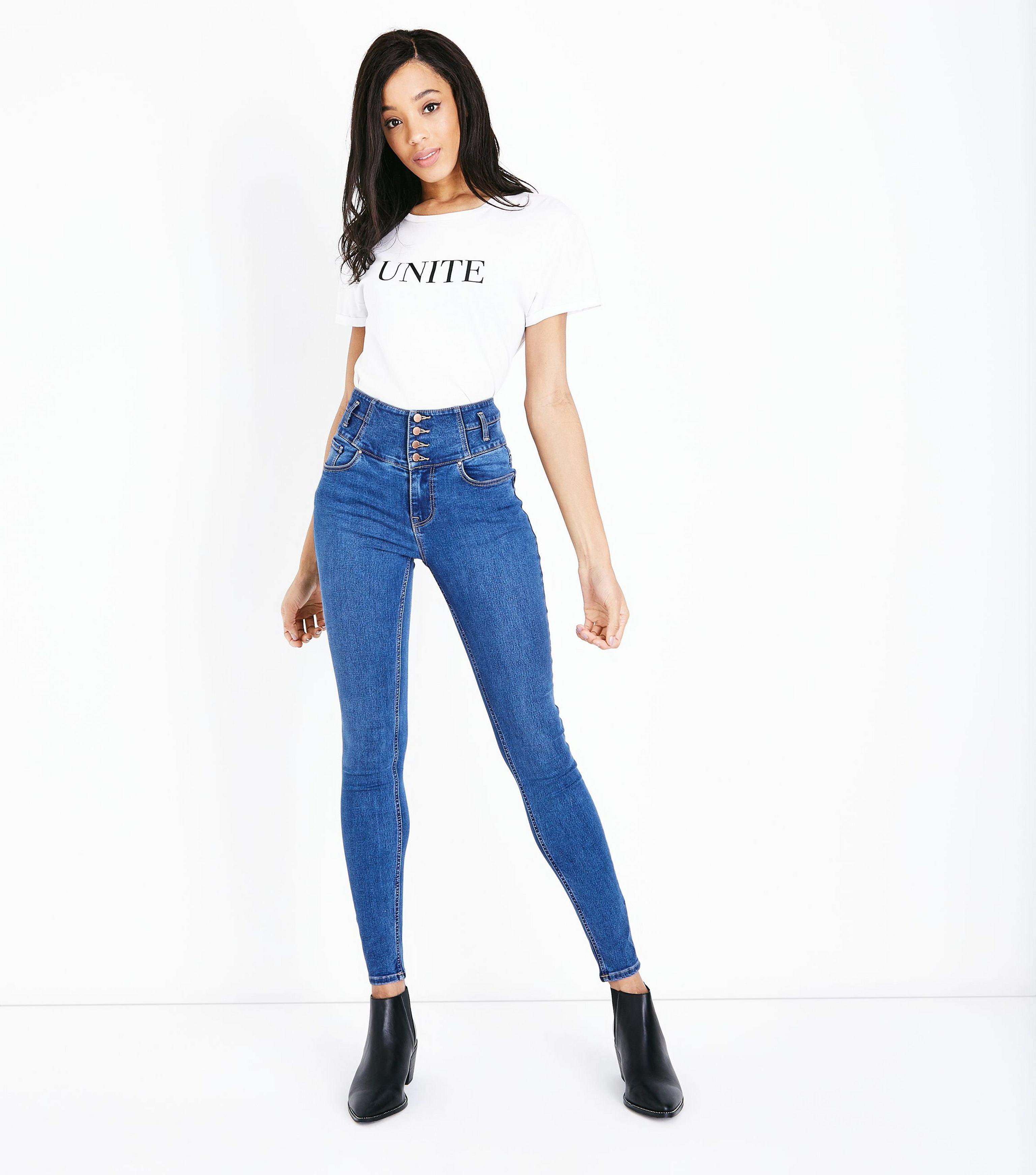 9dabe096b3d09 New Look Tall Blue High Waist Button Front Skinny Jeans in Blue - Lyst