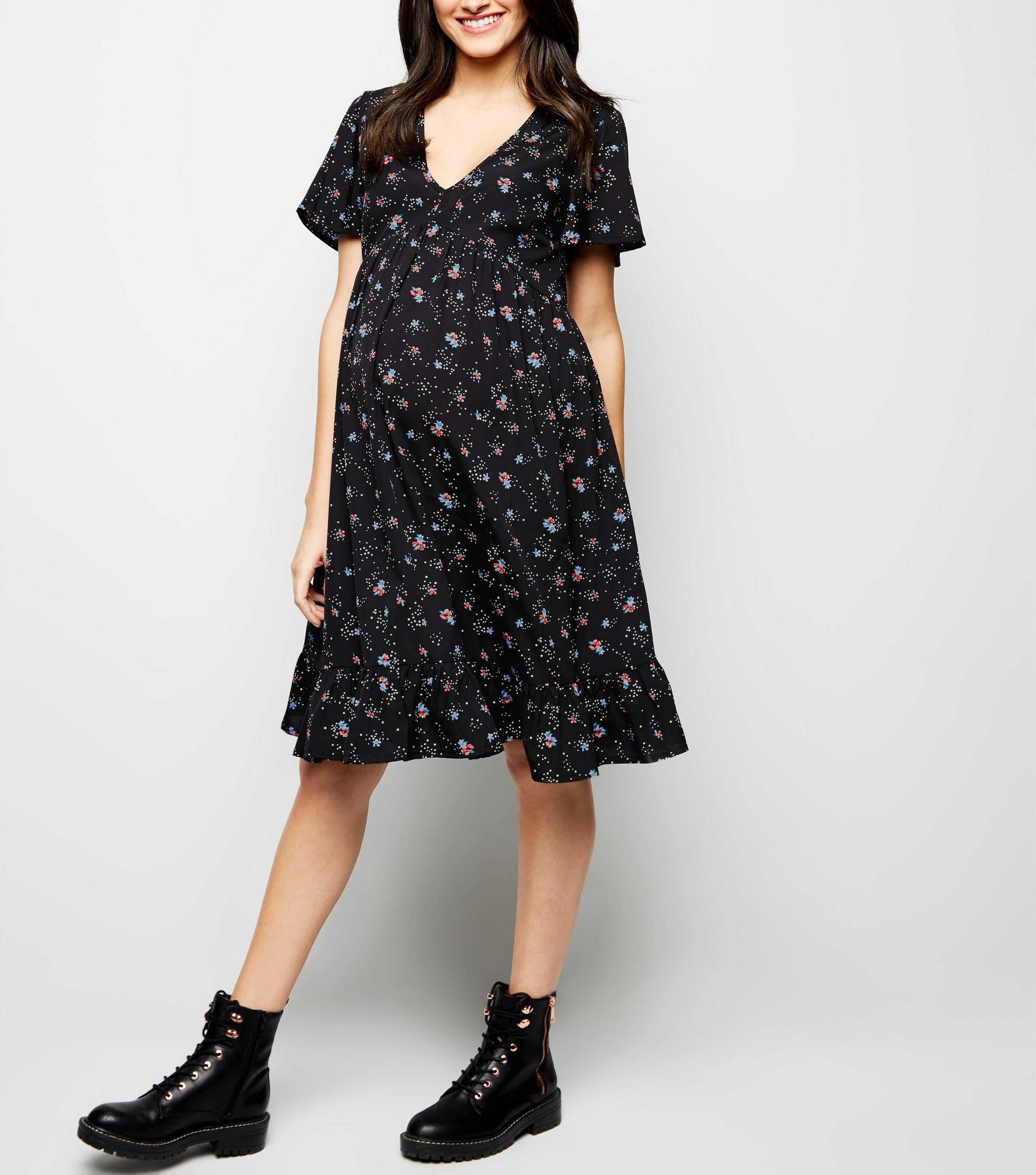 f03486fe67 New Look Maternity Black Floral Print Smock Dress in Black - Lyst