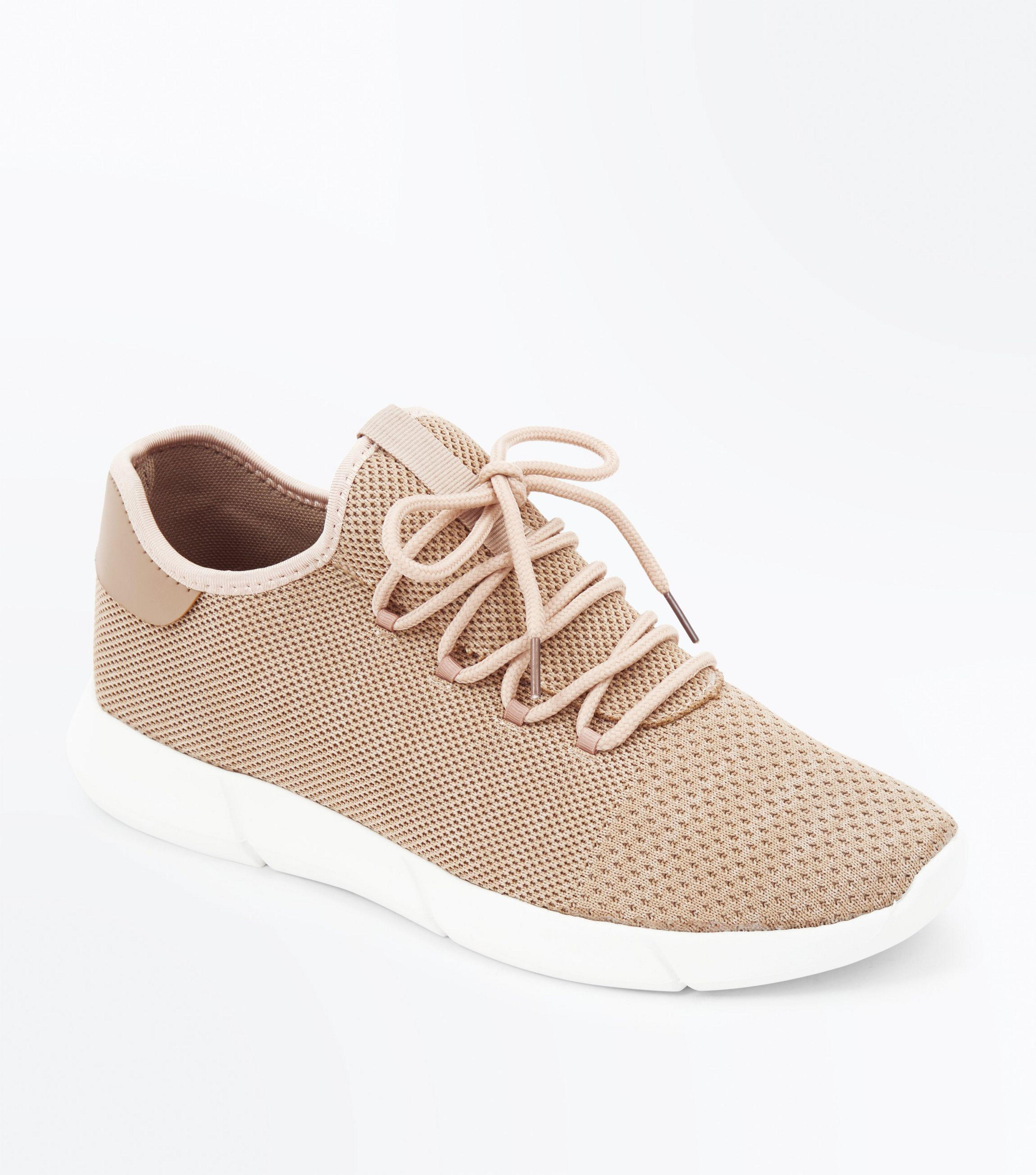 san francisco 23919 1c50d new-look--Stone-Knitted-Runner-Trainers.jpeg
