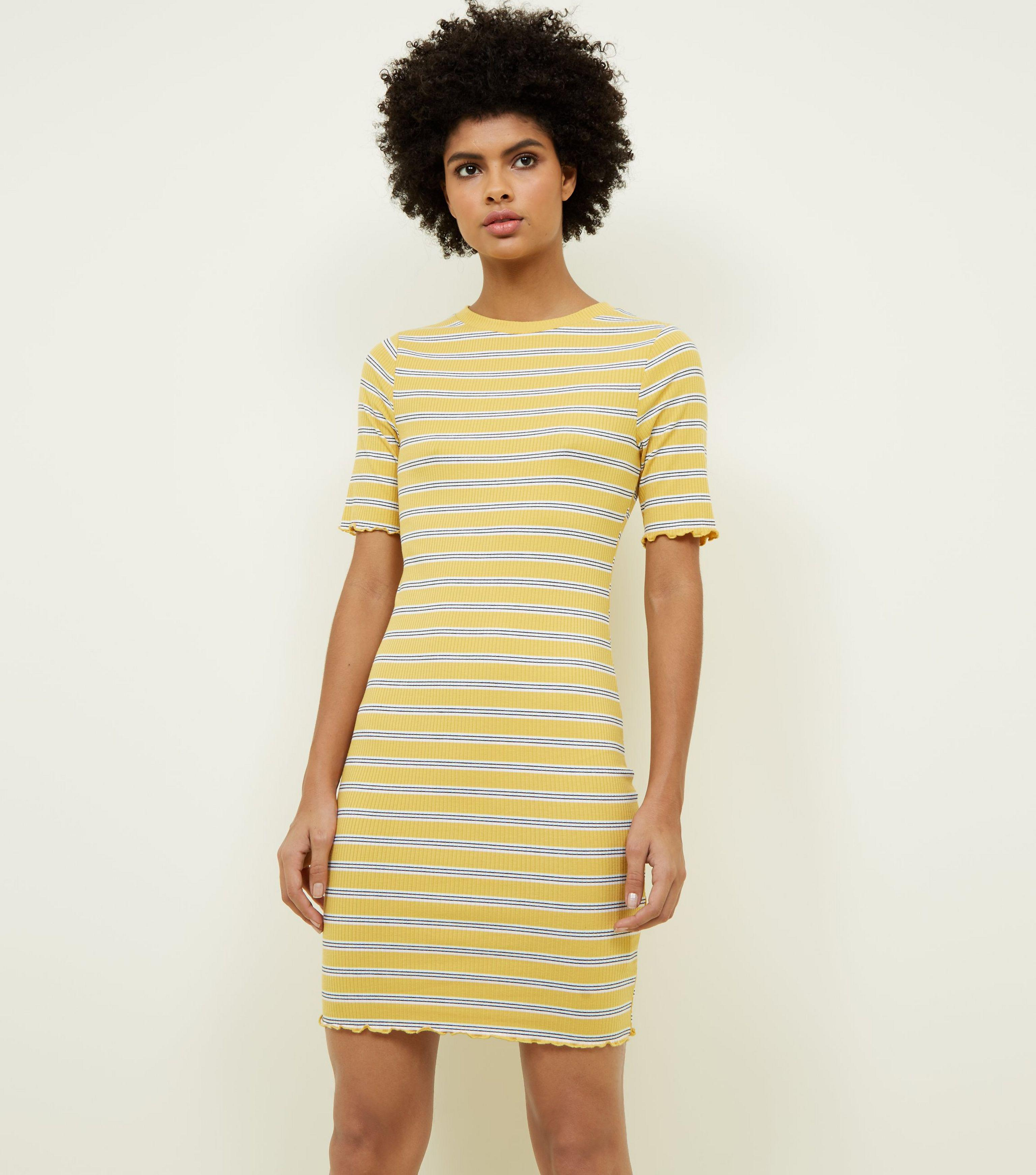 52046cca046 New Look Mustard Stripe Ribbed Bodycon Dress in Yellow - Lyst