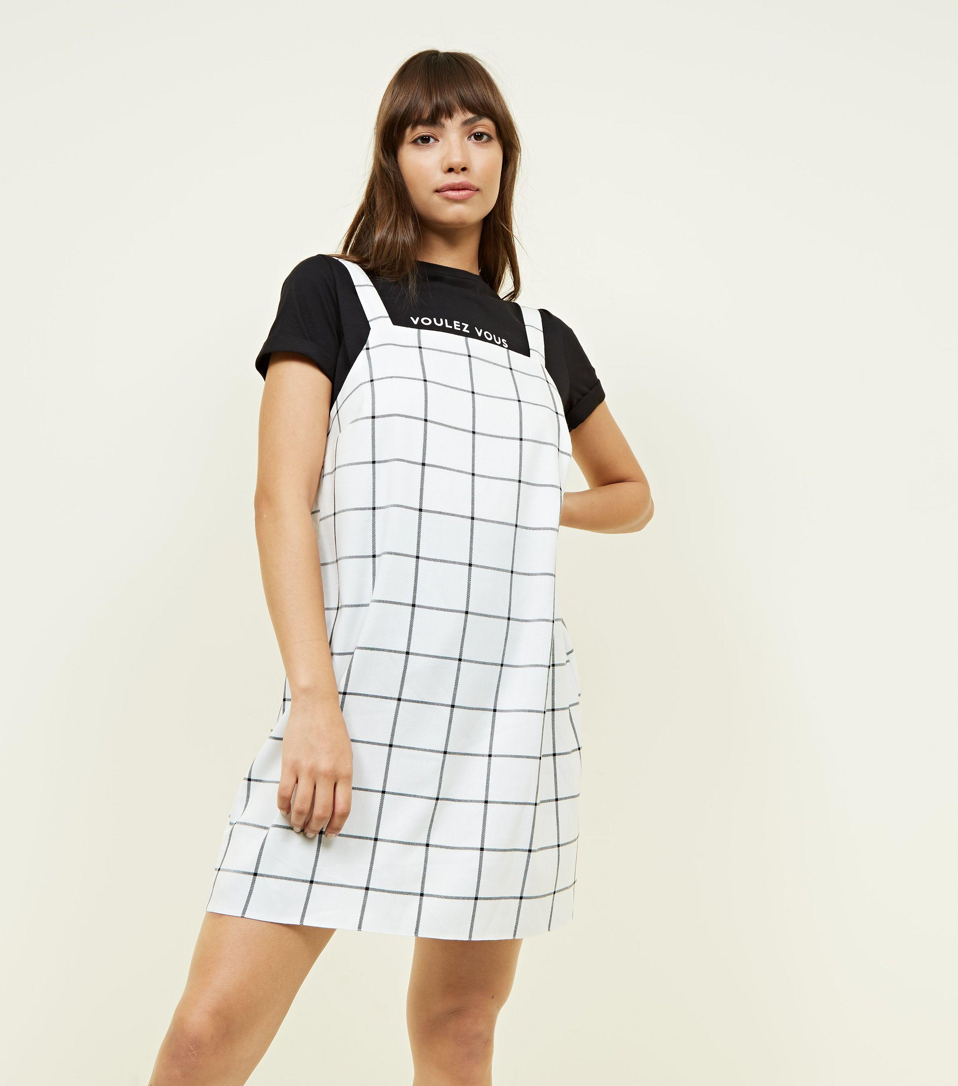 1496f3511a New Look Off White Grid Check Pinafore Dress in White - Lyst
