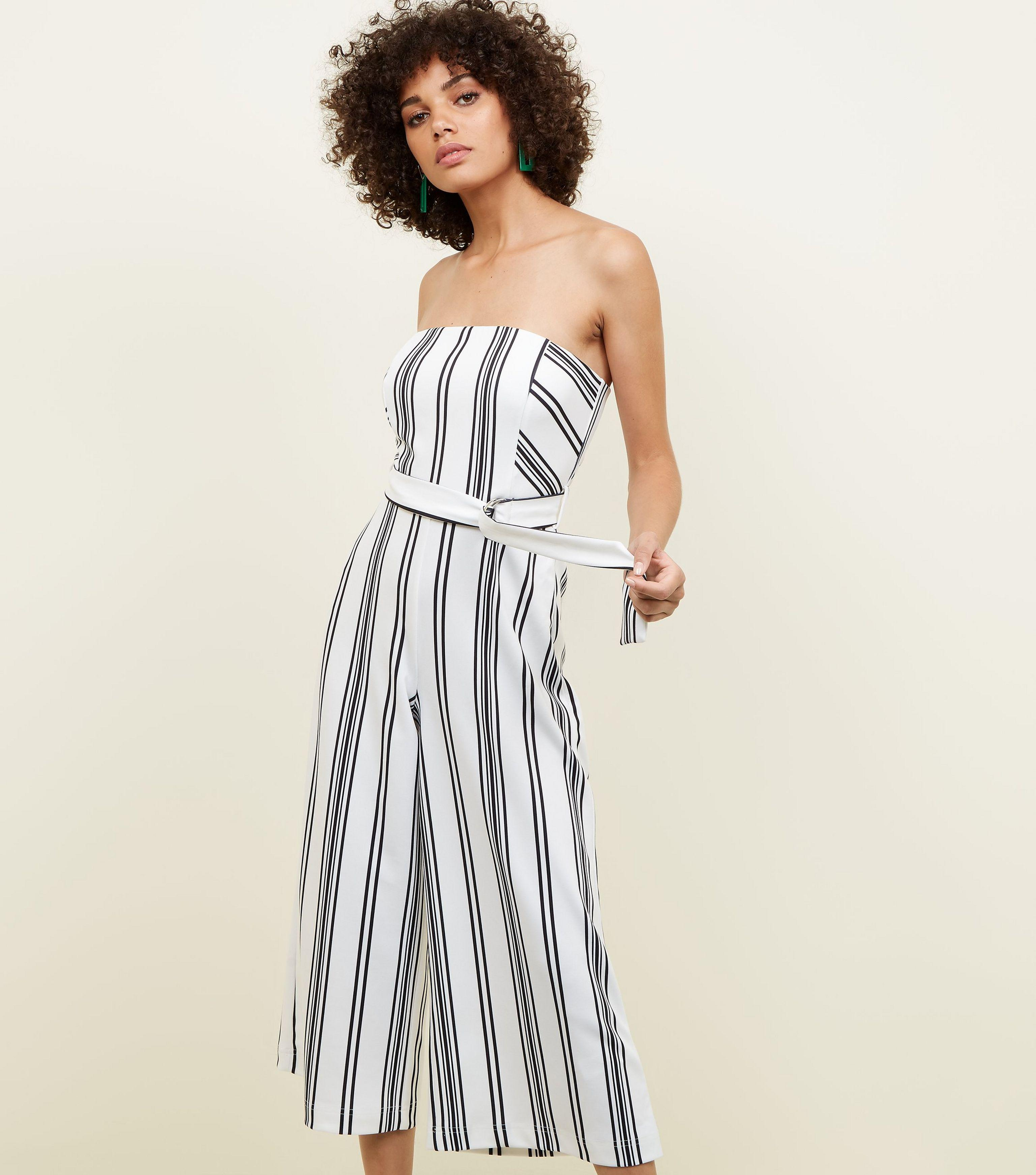 9a386d50ee71 New Look White Stripe Bandeau Culotte Jumpsuit in White - Lyst